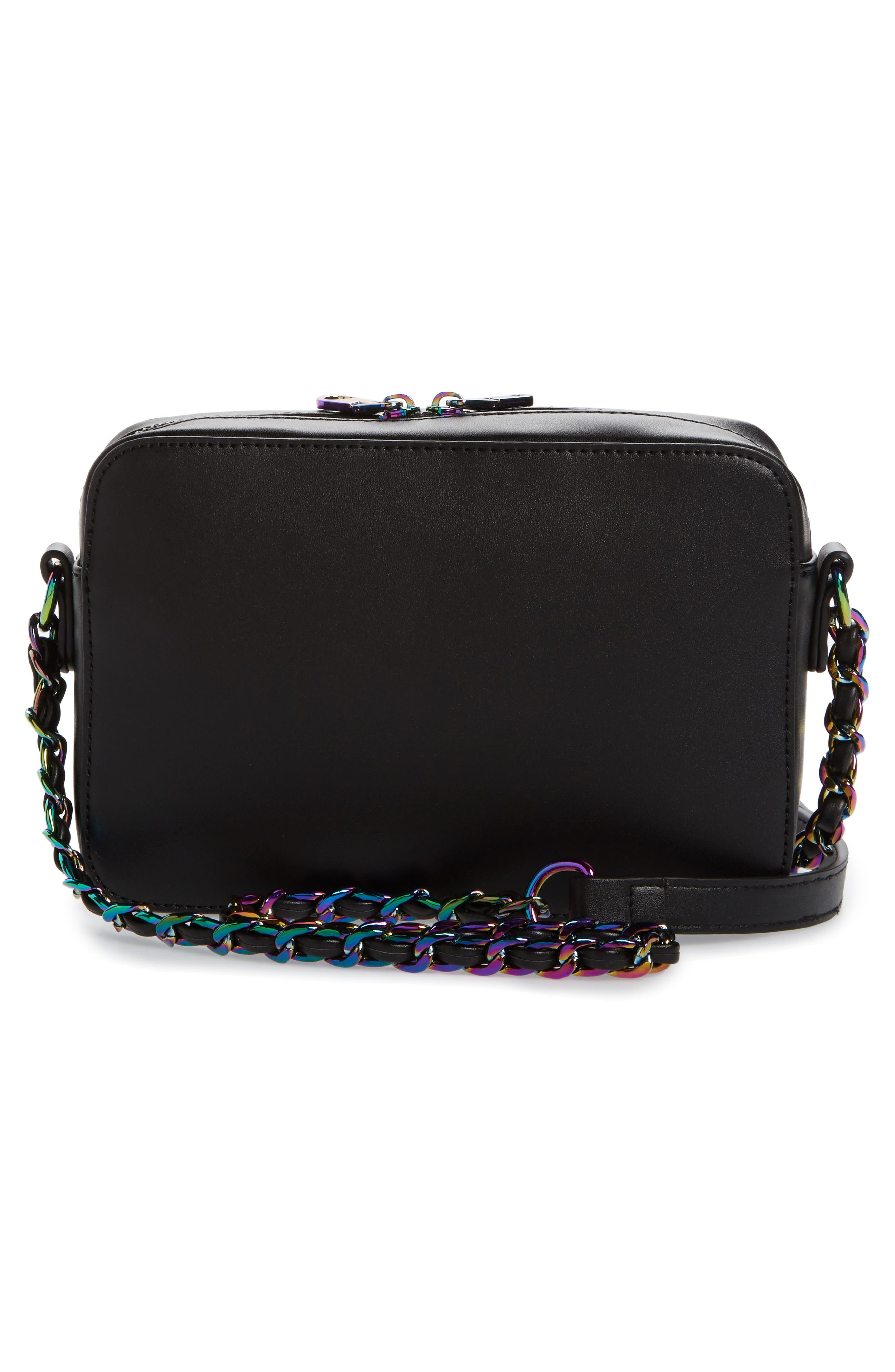 Bella Glitter Star Faux Leather Crossbody Bag,                             Alternate thumbnail 3, color,