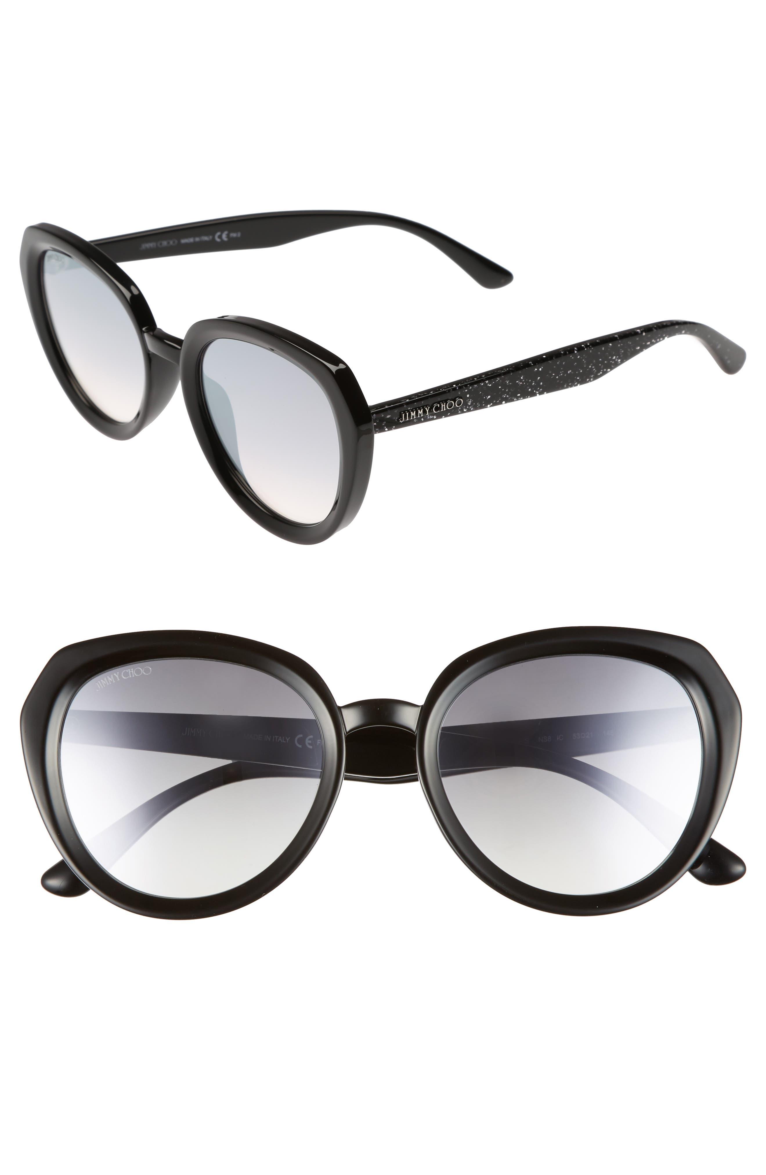 Maces 53mm Oversize Sunglasses,                         Main,                         color, BLACK GLITTER