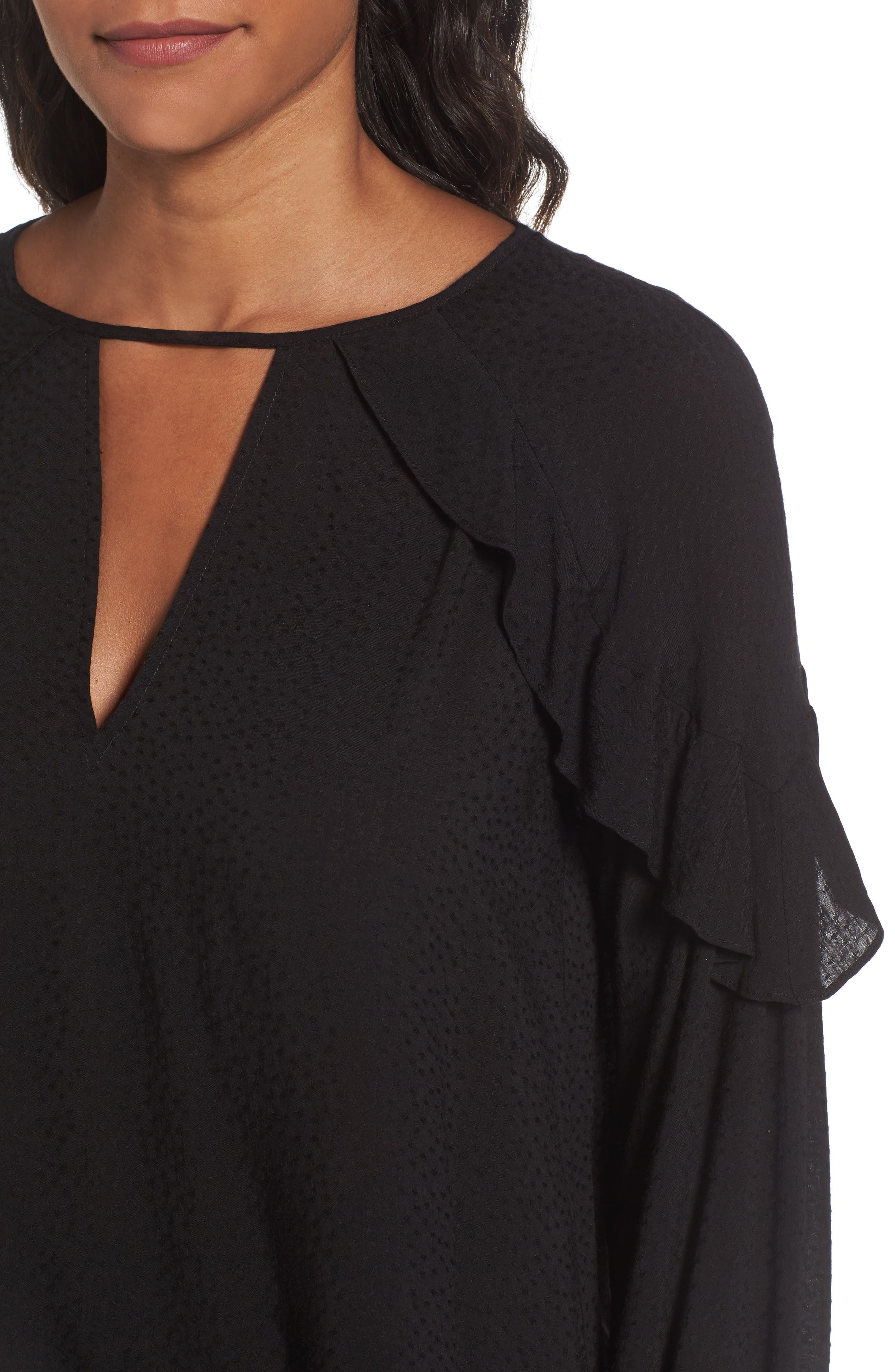 Textured Ruffle Blouse,                             Alternate thumbnail 4, color,                             001