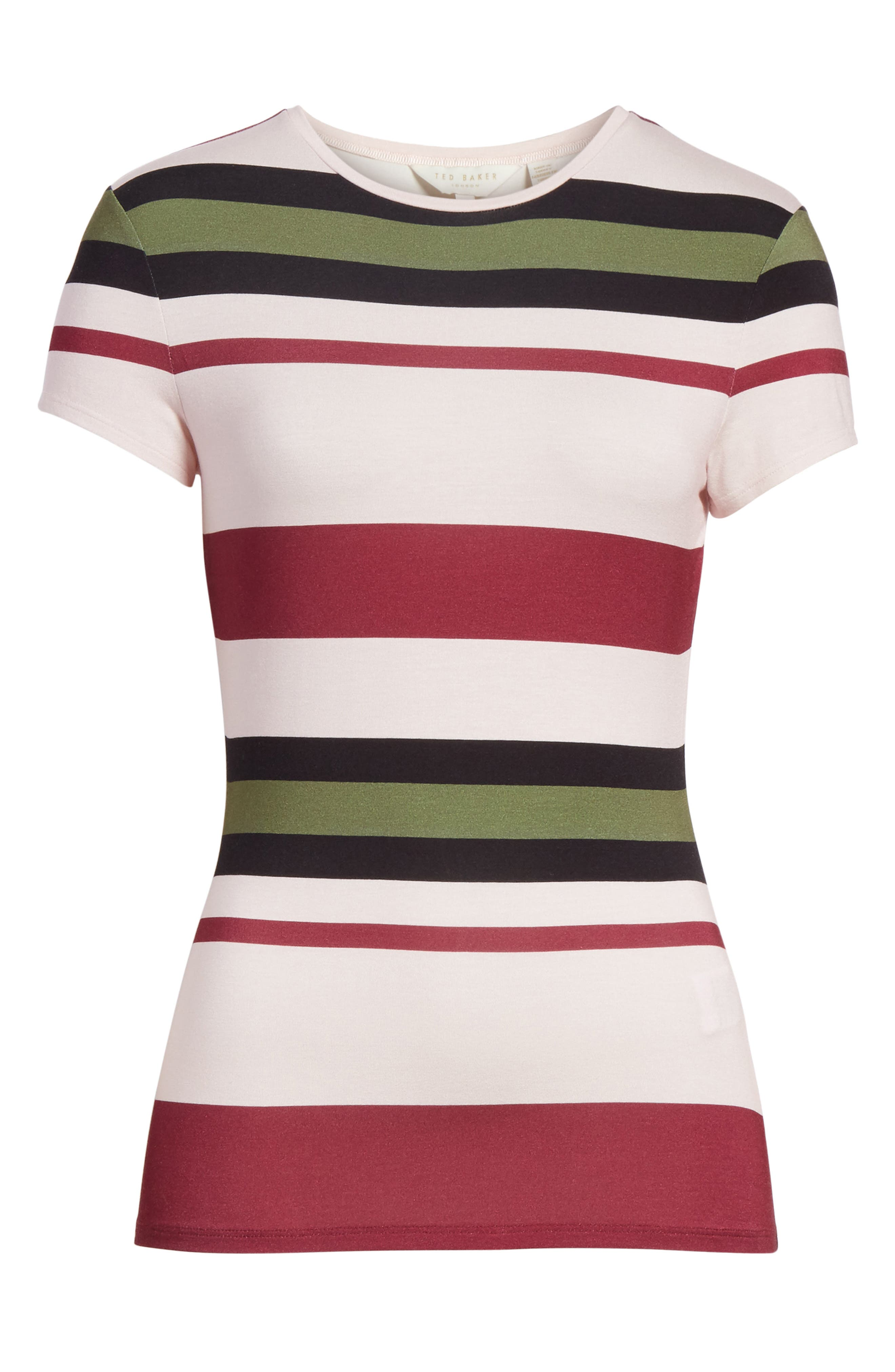 Imperial Stripe Fitted Tee,                             Alternate thumbnail 6, color,