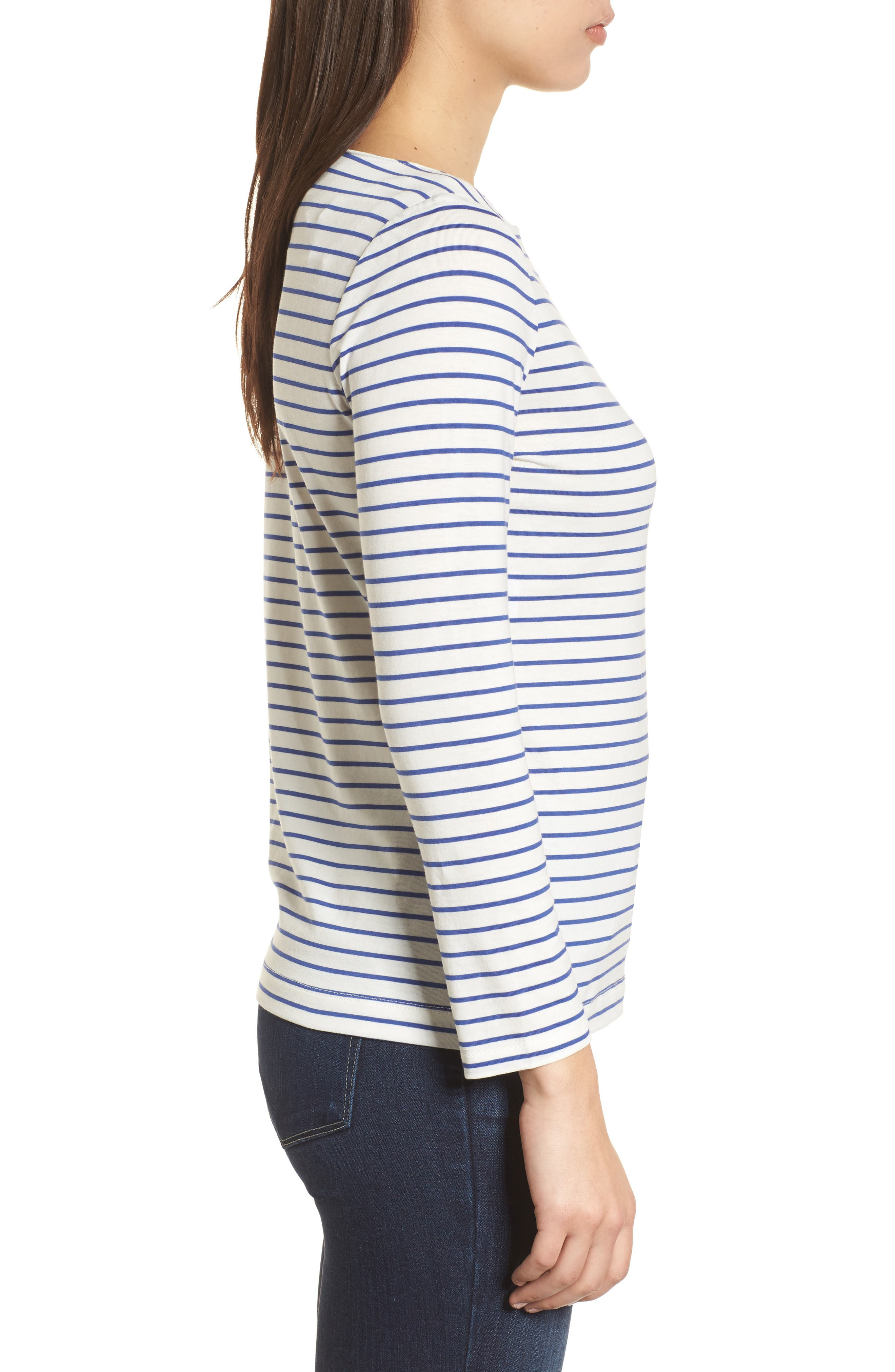 Stripe Knit Boatneck Top,                             Alternate thumbnail 3, color,                             100