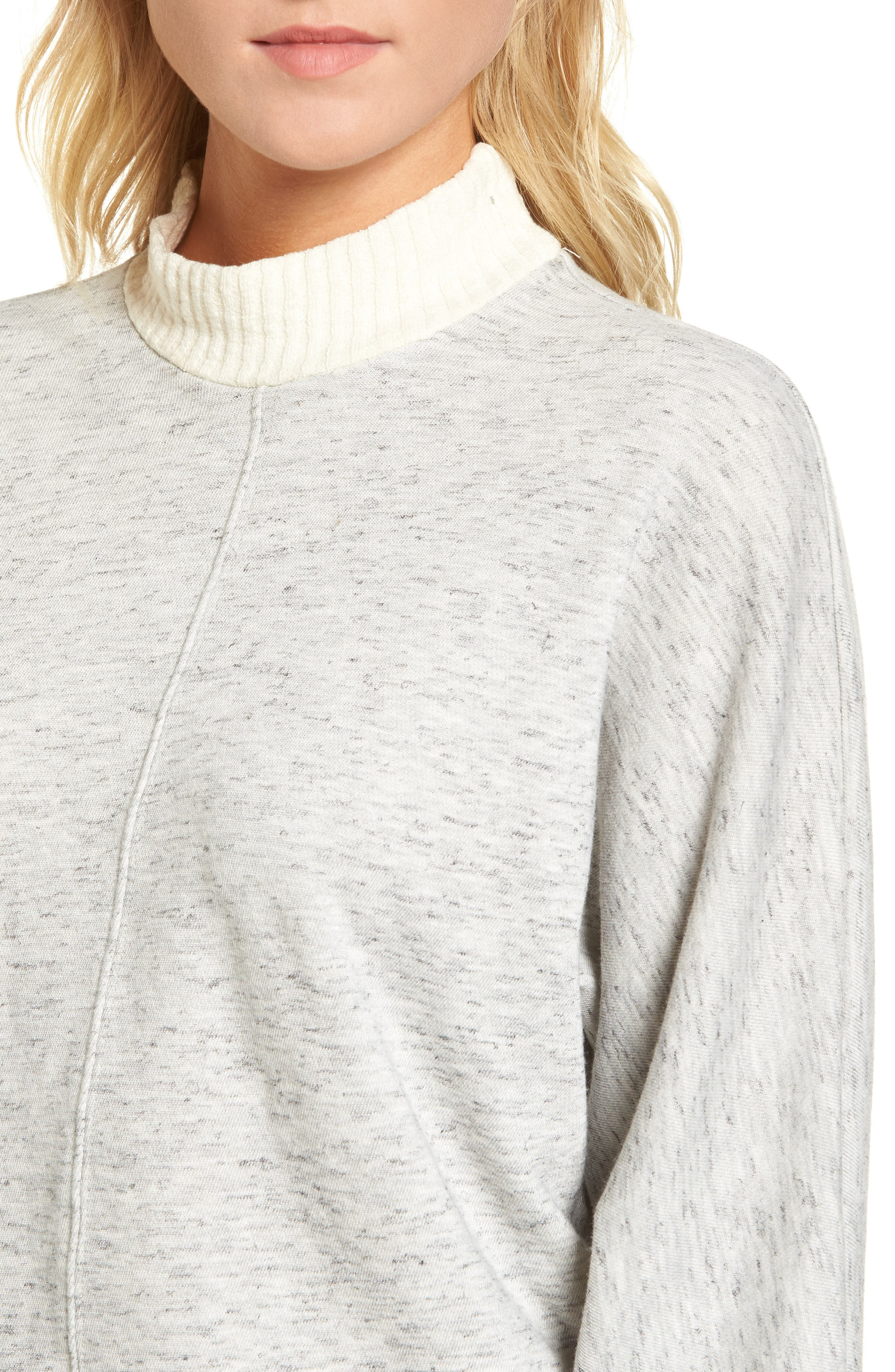 Sidelight Crop Mock Neck Pullover,                             Alternate thumbnail 4, color,                             GREY