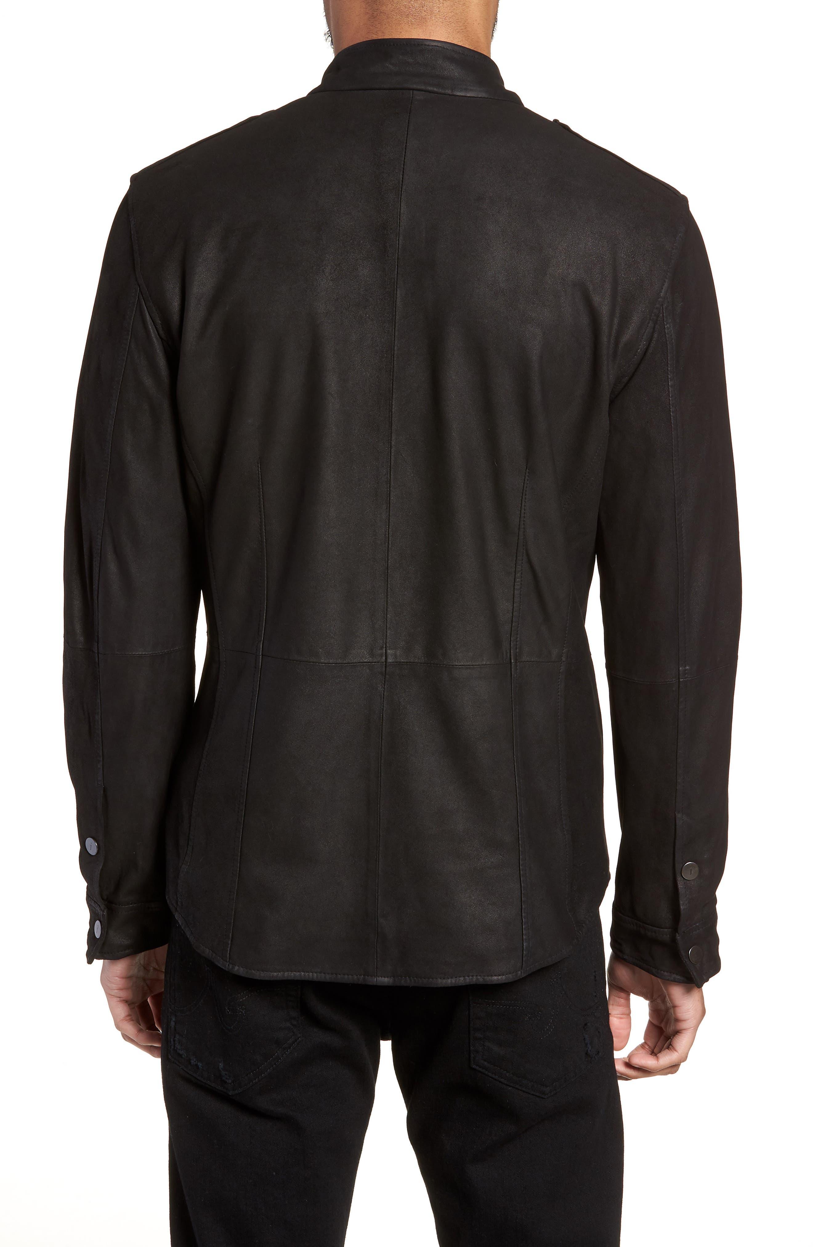 John Varvatos x Nick Jonas Suede Shirt Jacket,                             Alternate thumbnail 2, color,                             BLACK