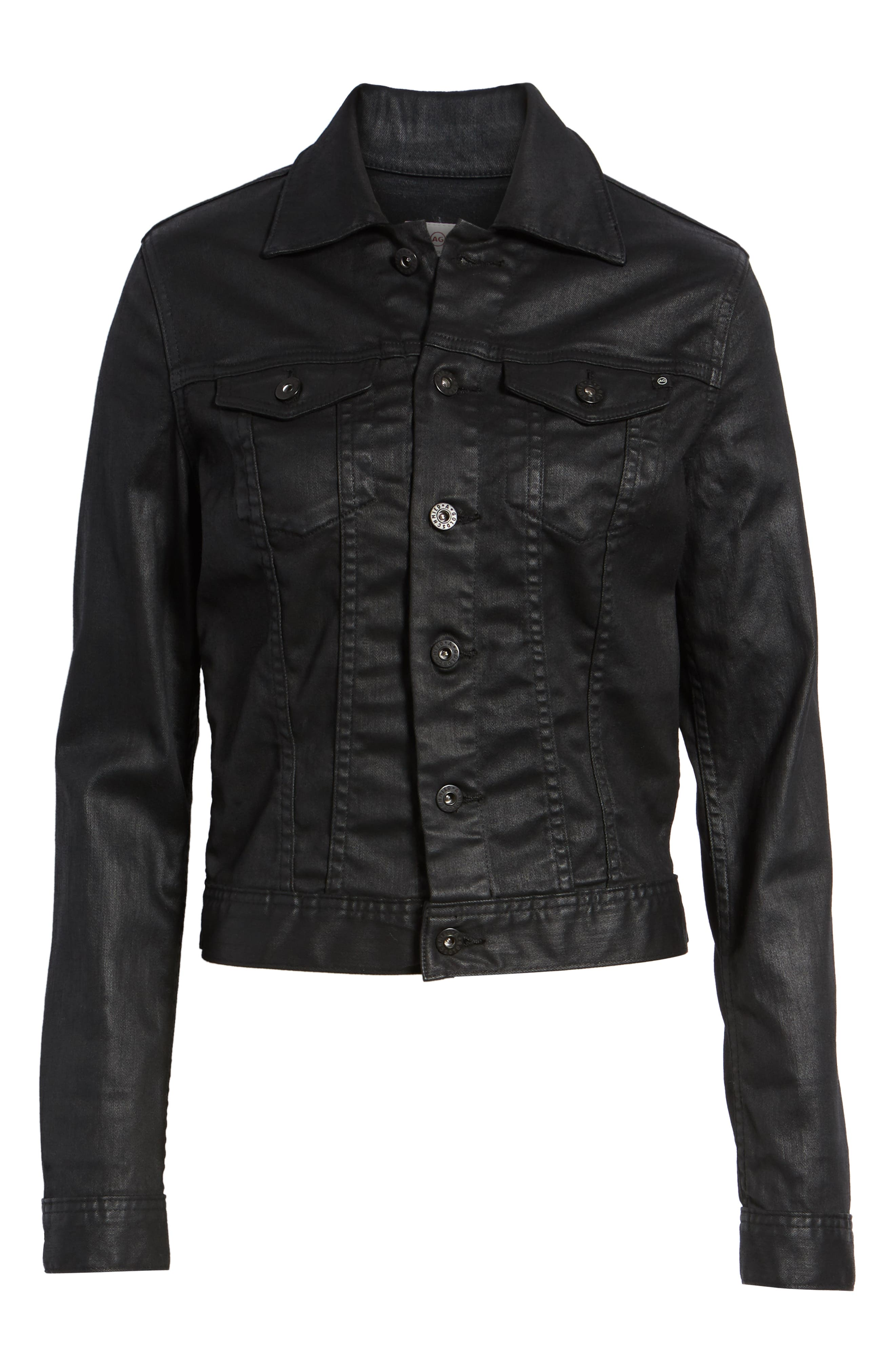 'Robyn' Denim Jacket,                             Alternate thumbnail 6, color,                             LACQUERED PURE BLACK