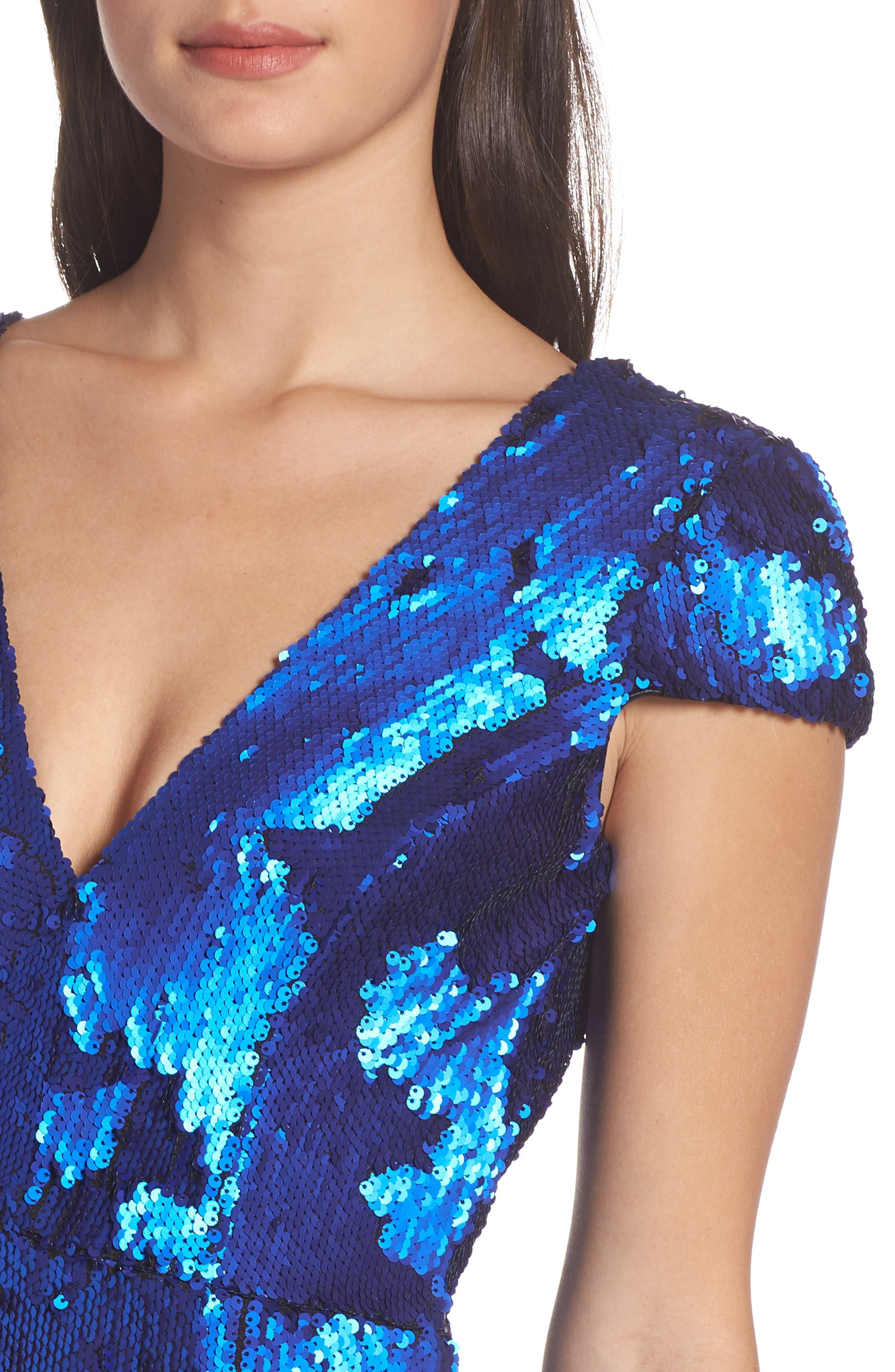 Zoe Sequin V-Neck Cocktail Sheath Dress,                             Alternate thumbnail 4, color,                             ELECTRIC BLUE