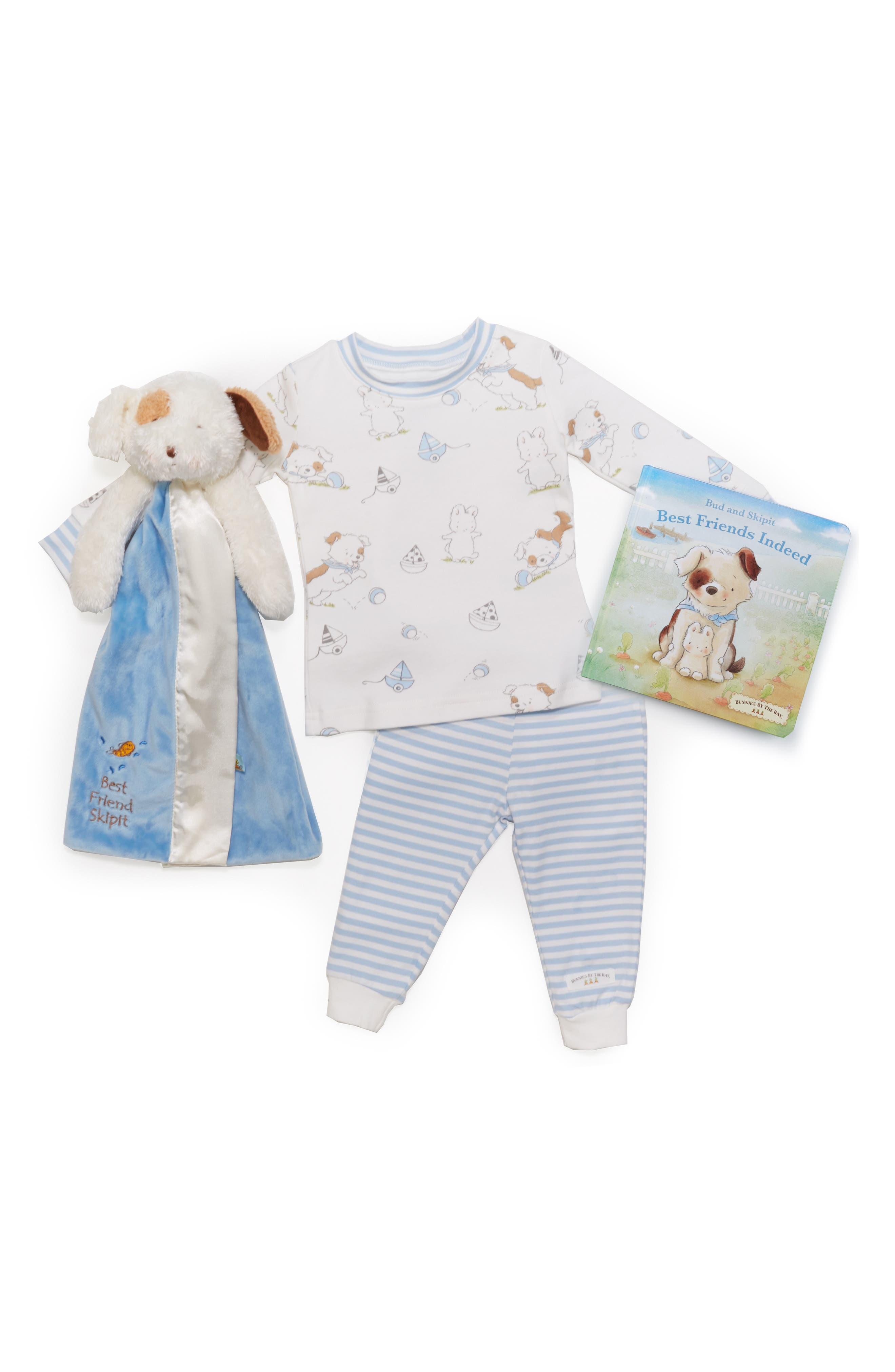 Best Friends Sleepy Time Fitted Two-Piece Pajamas, Animal Buddy Blanket & Board Book Set,                             Alternate thumbnail 2, color,                             BLUE