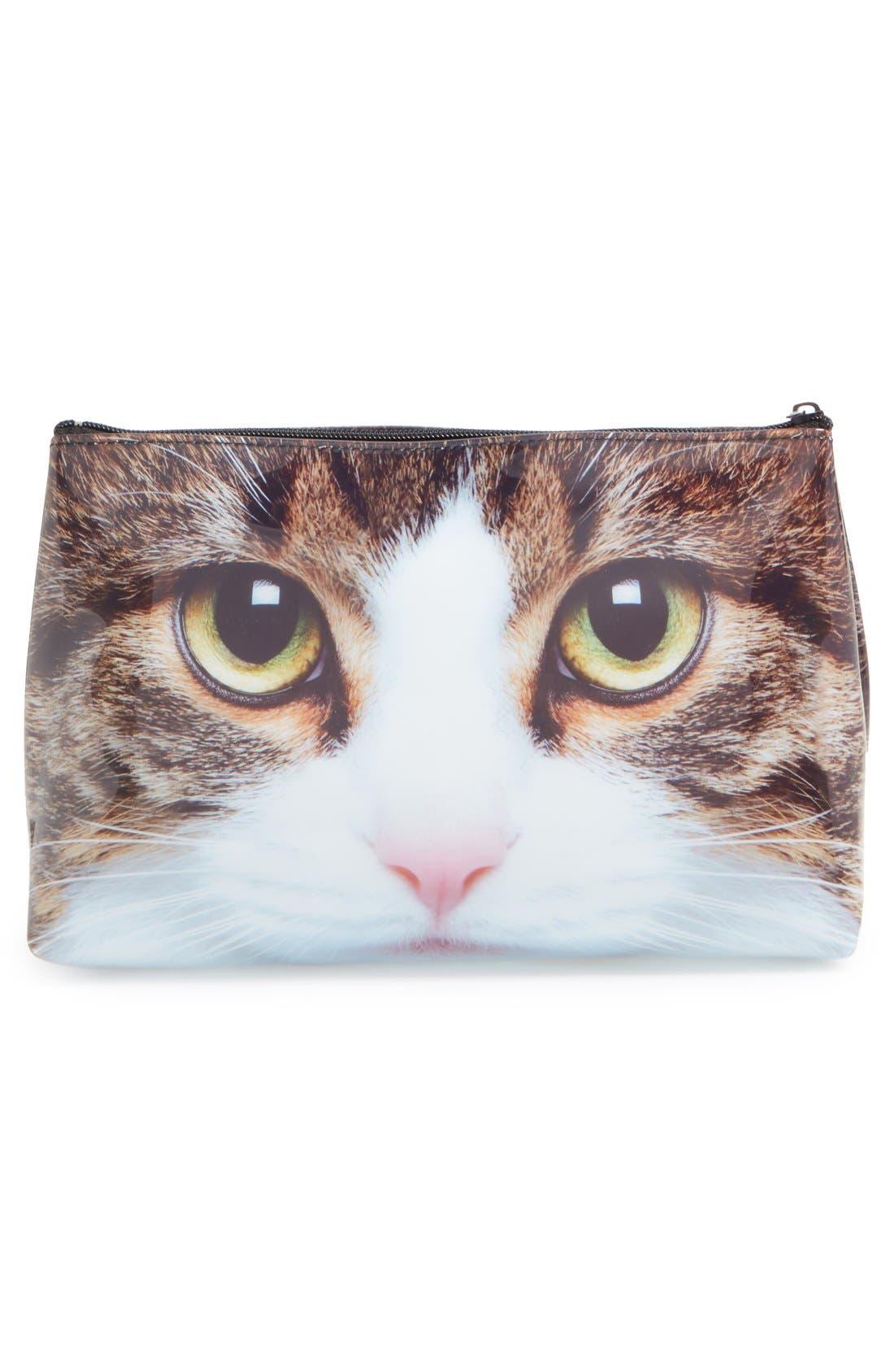 'Tabby Cat' Cosmetics Bag,                             Alternate thumbnail 4, color,                             200