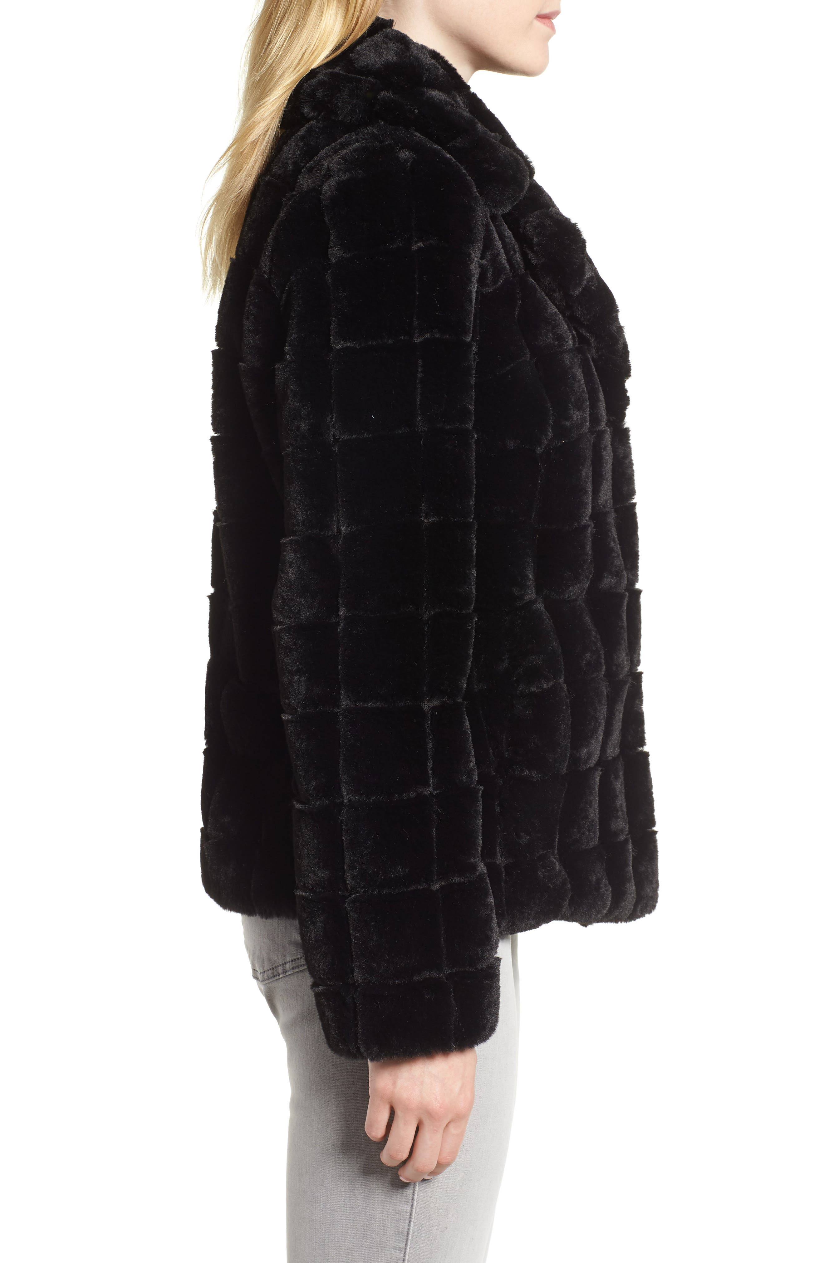 Quilted Faux Fur Jacket,                             Alternate thumbnail 3, color,                             001