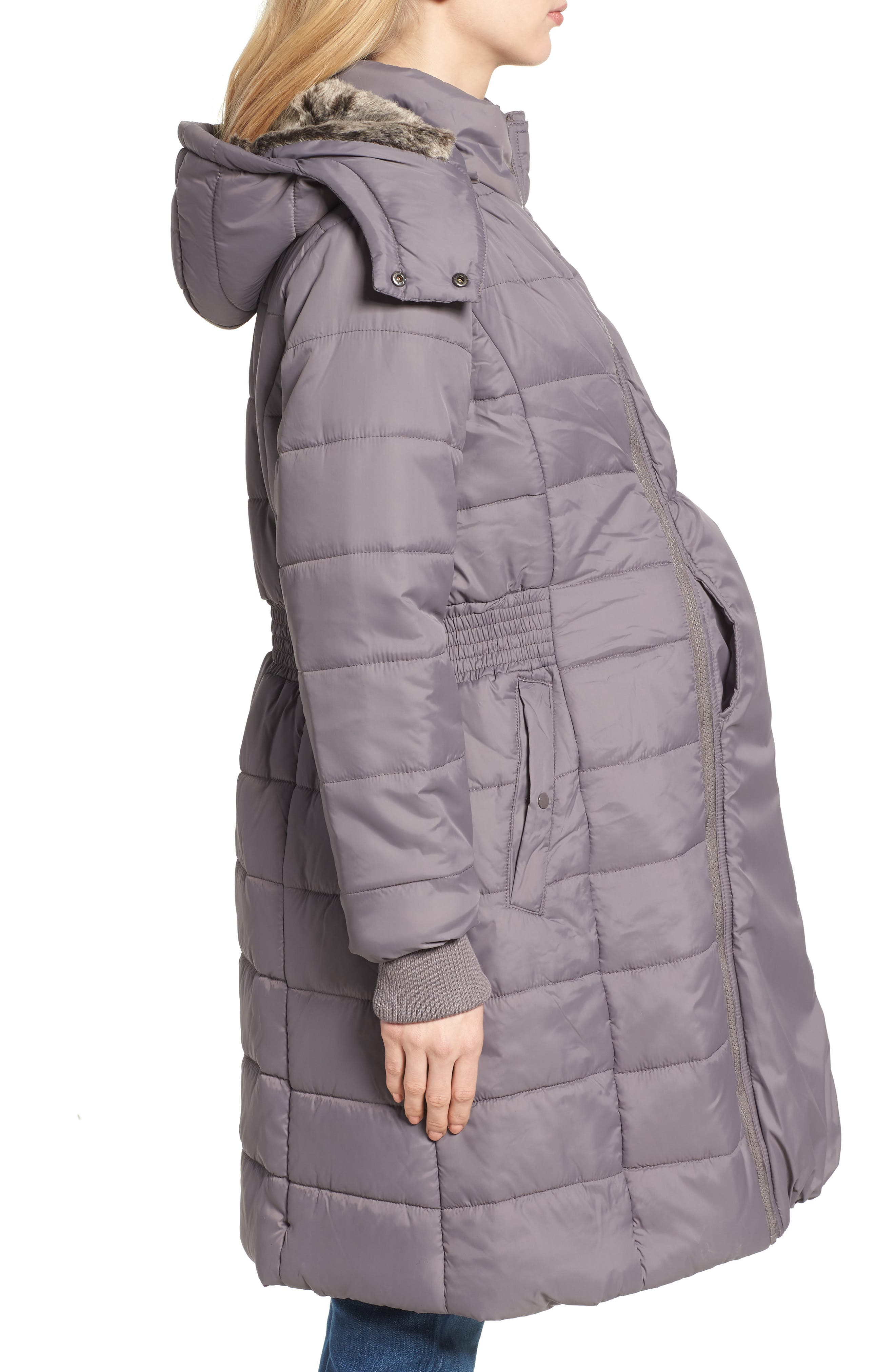 Madison Quilted 3-in-1 Maternity Puffer Coat with Faux Fur Trim,                             Alternate thumbnail 5, color,                             GREY