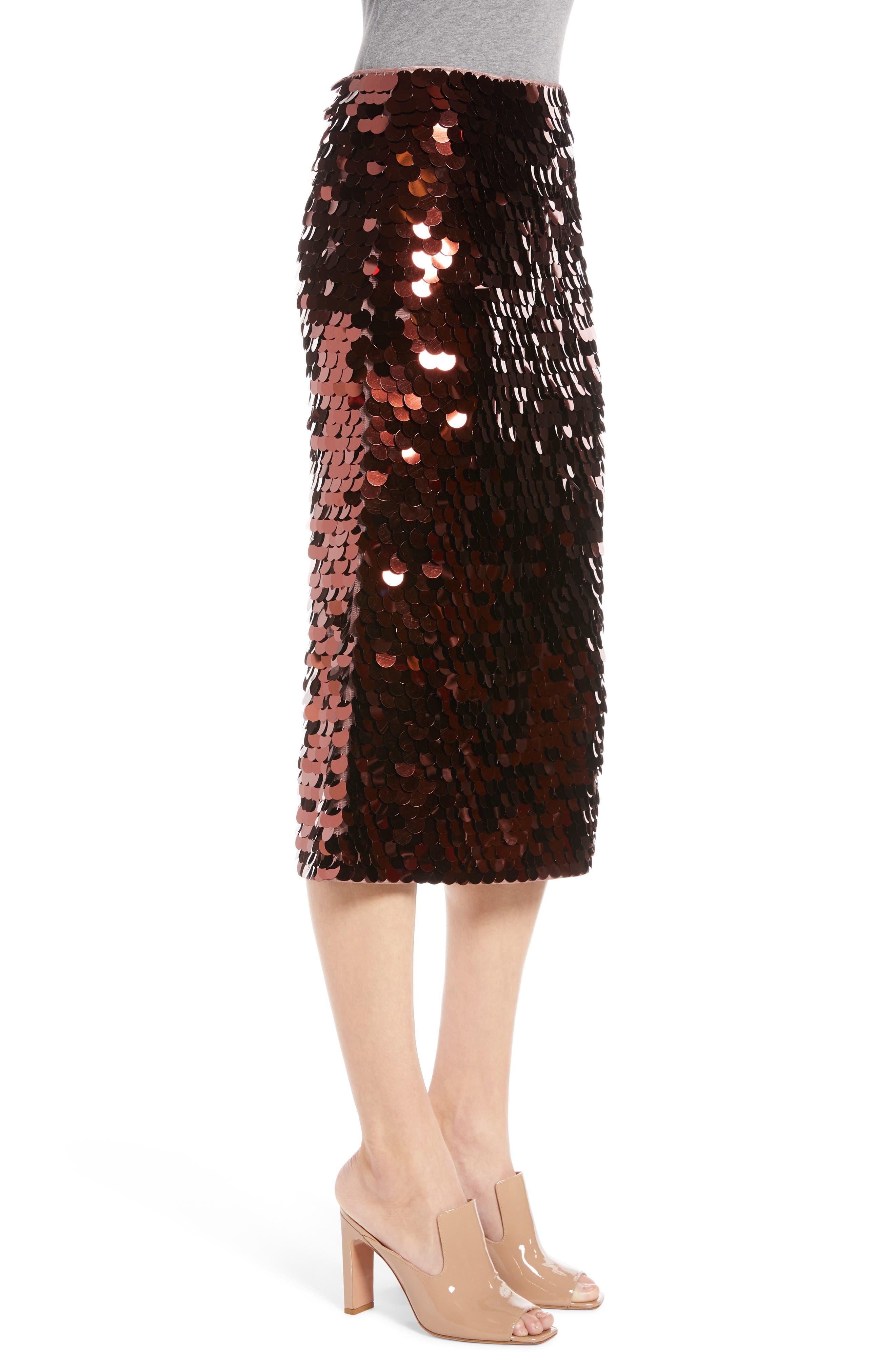 Paillette Pencil Skirt,                             Alternate thumbnail 3, color,                             510