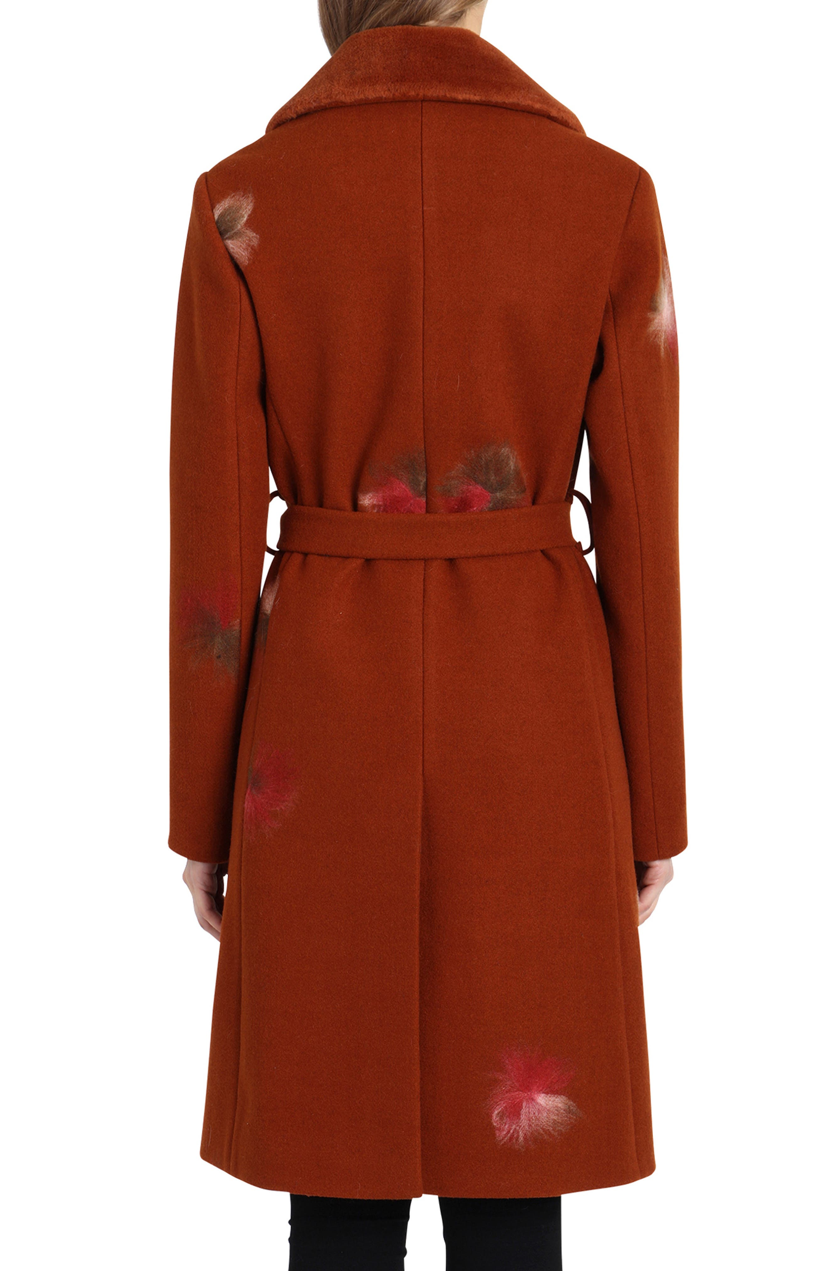 BADGLEY MISCHKA COLLECTION,                             Badgley Mischka Felted Embroidery Wool Blend Coat,                             Alternate thumbnail 2, color,                             801