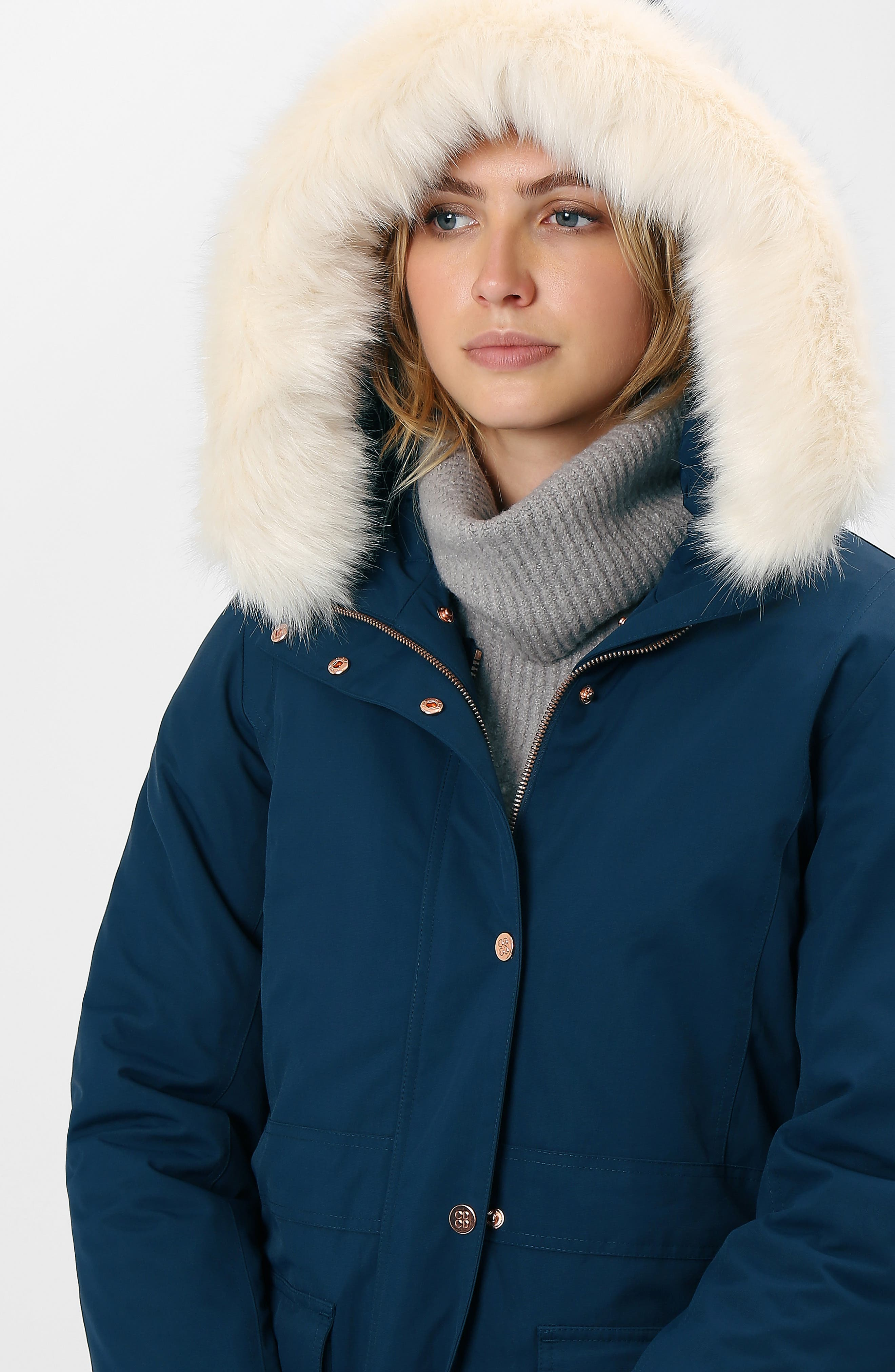 Highlands Three-In-One Faux Fur & Faux Shearling Coat,                             Alternate thumbnail 7, color,                             BEETLE BLUE