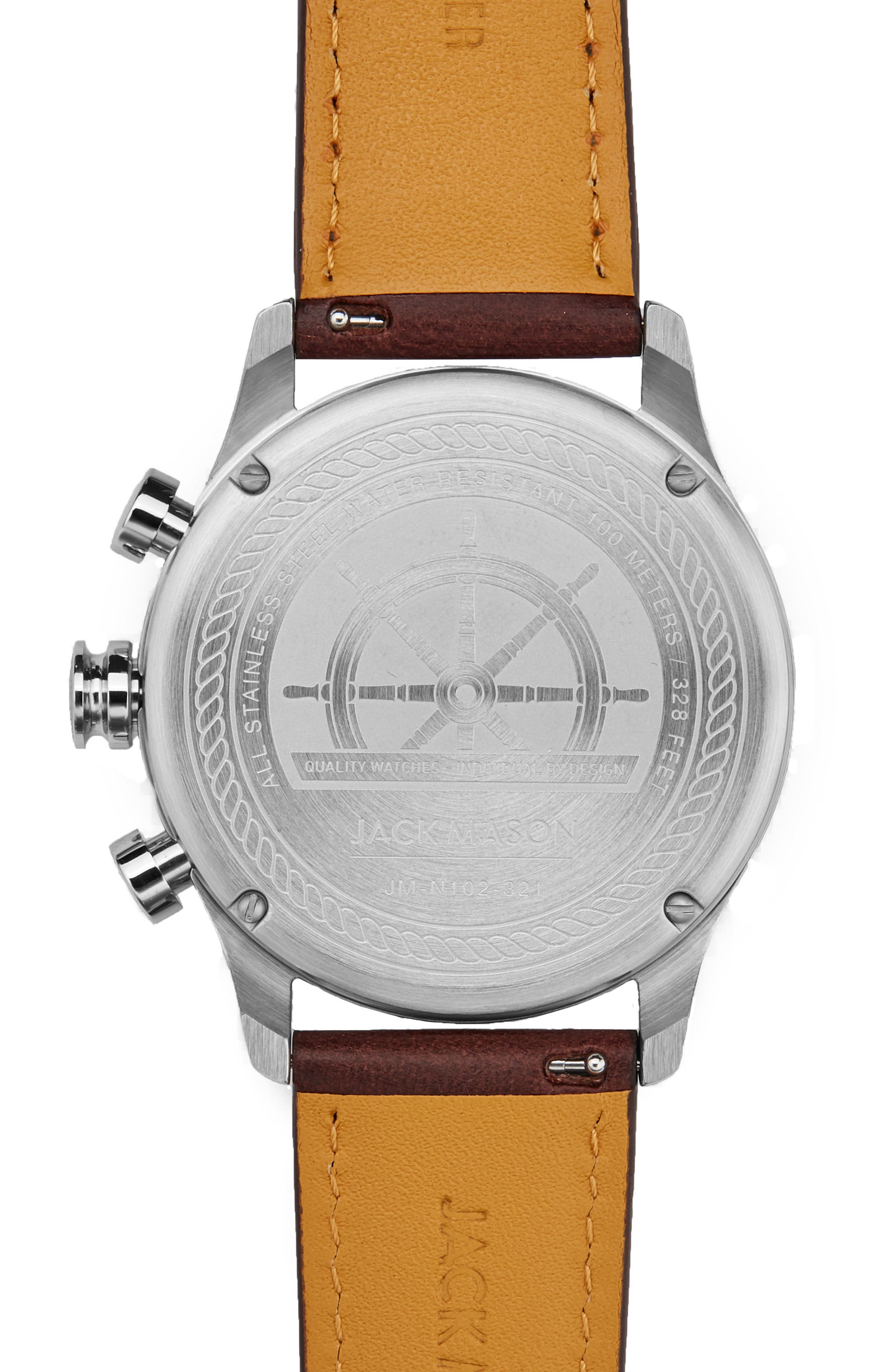 Nautical Chronograph Leather Strap Watch, 42mm,                             Alternate thumbnail 2, color,                             200