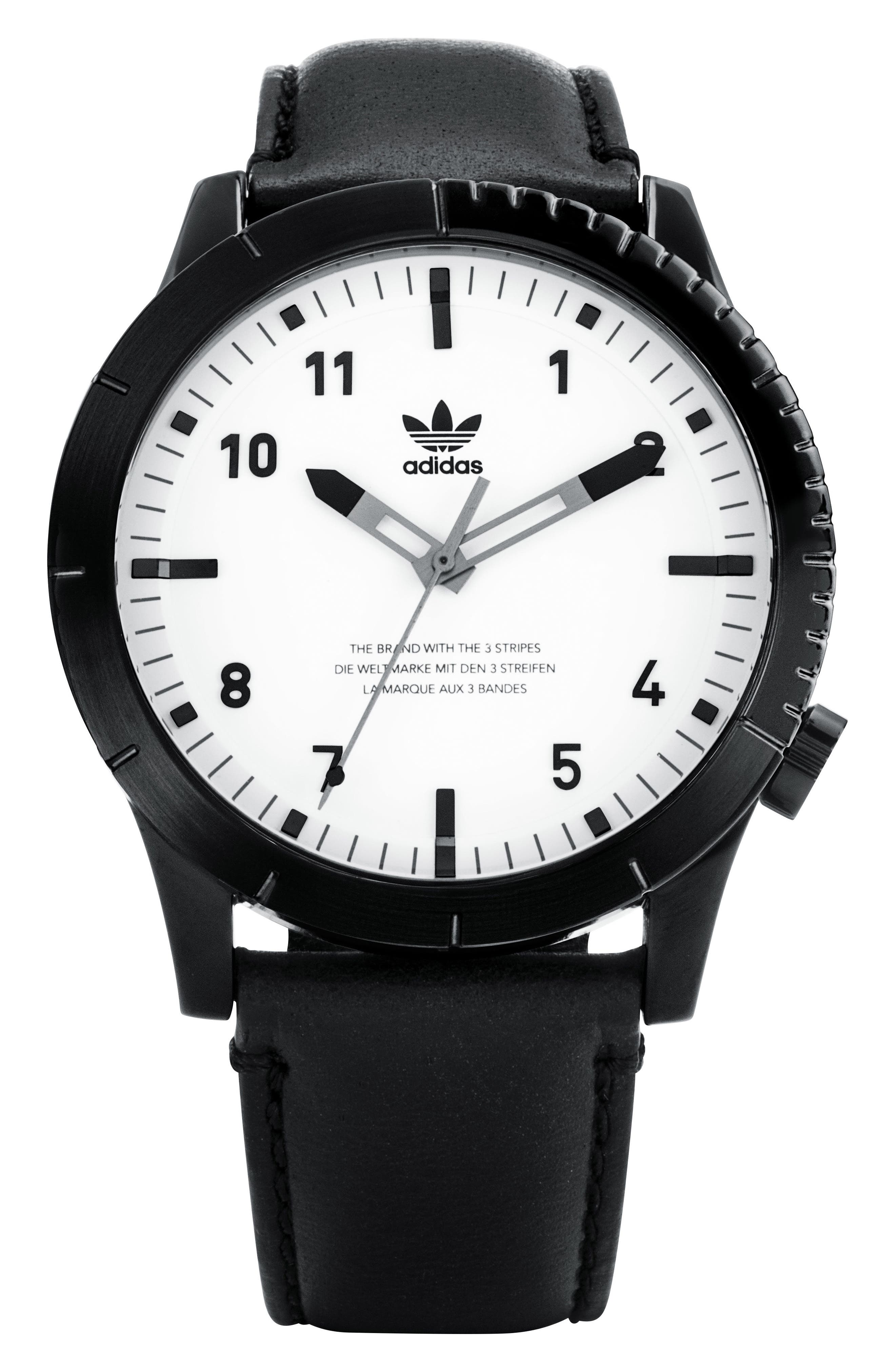 Cypher Leather Strap Watch, 42mm,                         Main,                         color, BLACK/ WHITE