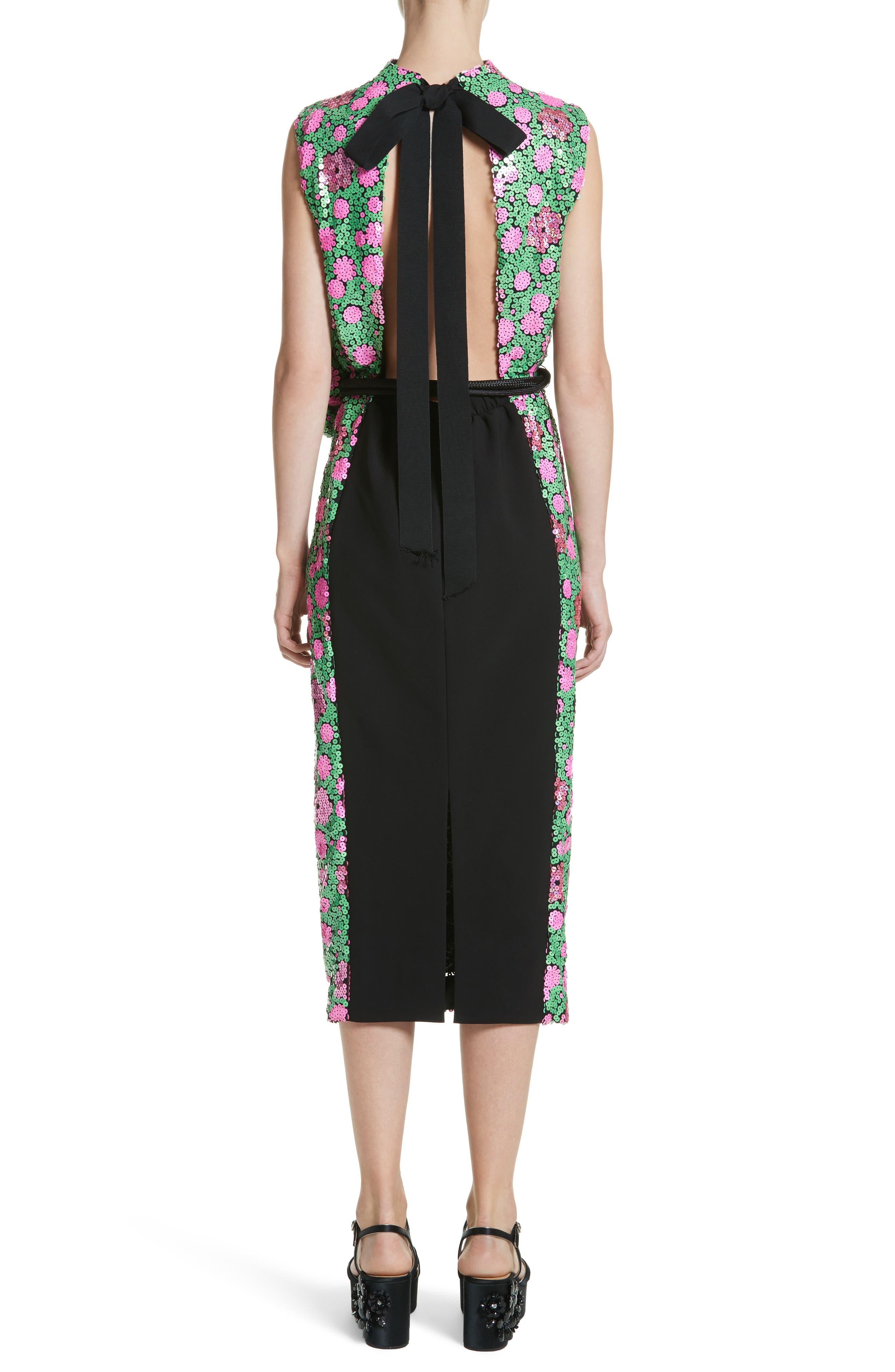Floral Sequin Midi dress,                             Alternate thumbnail 2, color,                             300