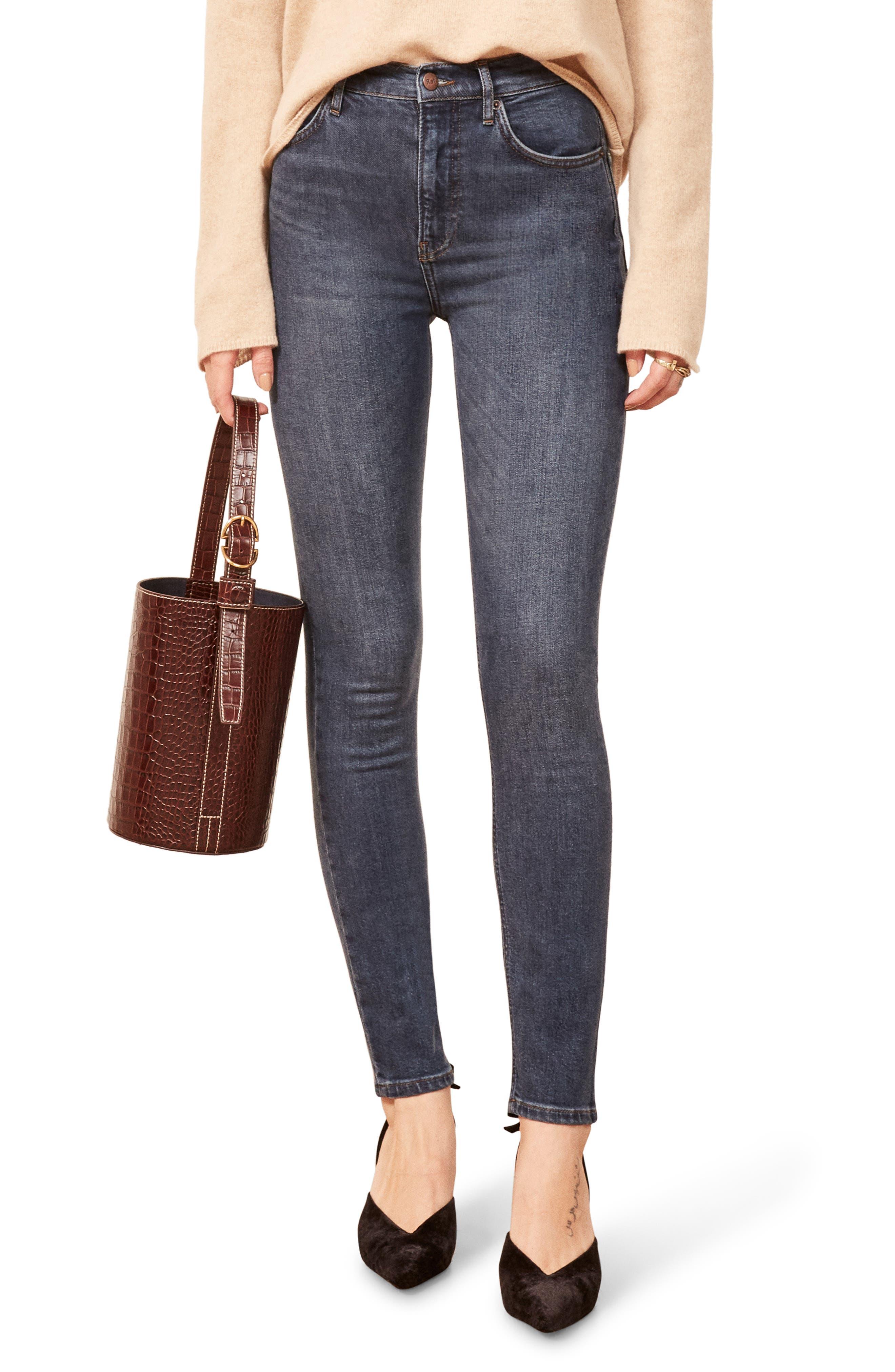 High & Skinny Jeans,                         Main,                         color, HAVANA