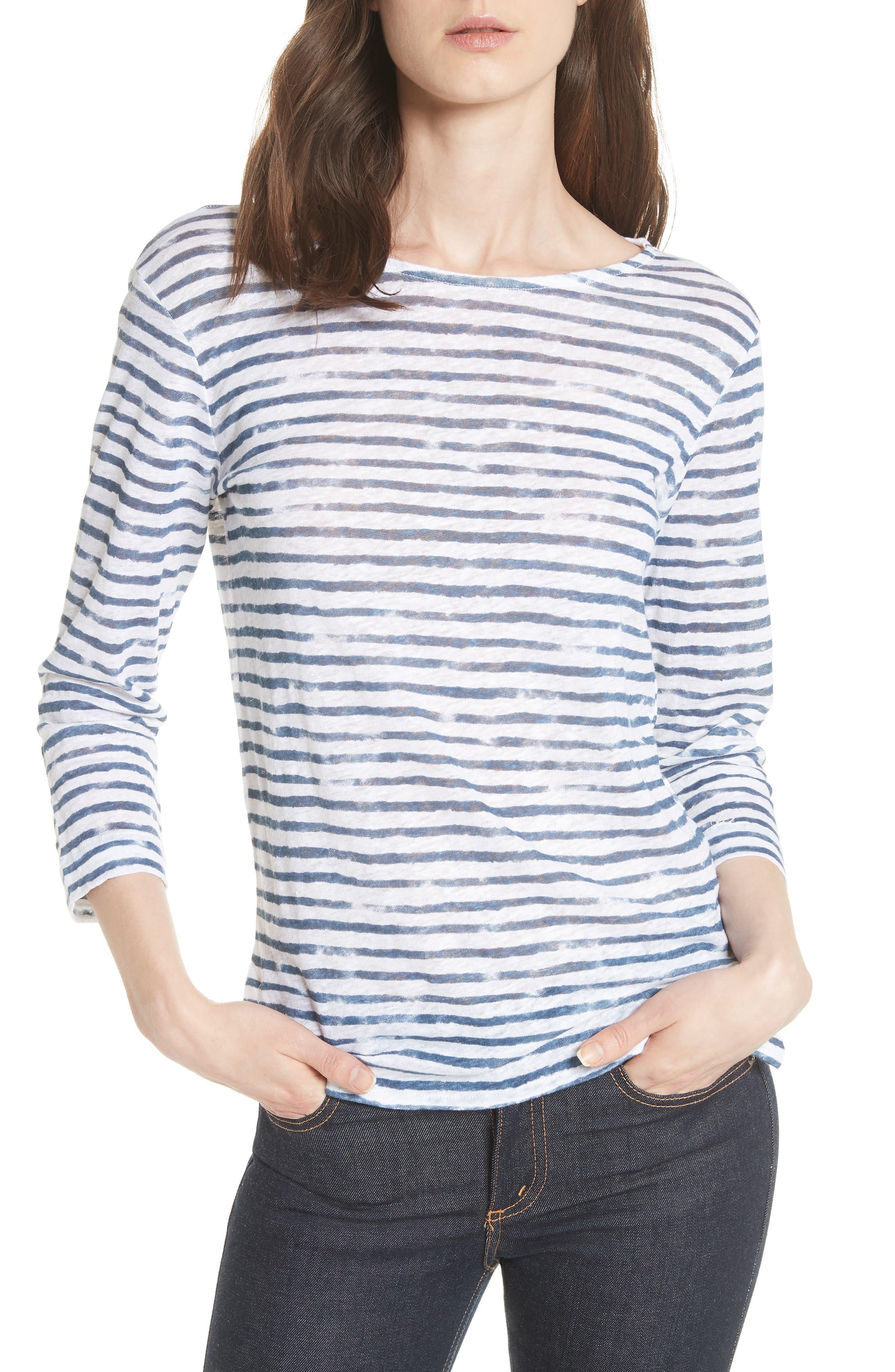Stripe Three Quarter Sleeve Tee,                         Main,                         color, 104