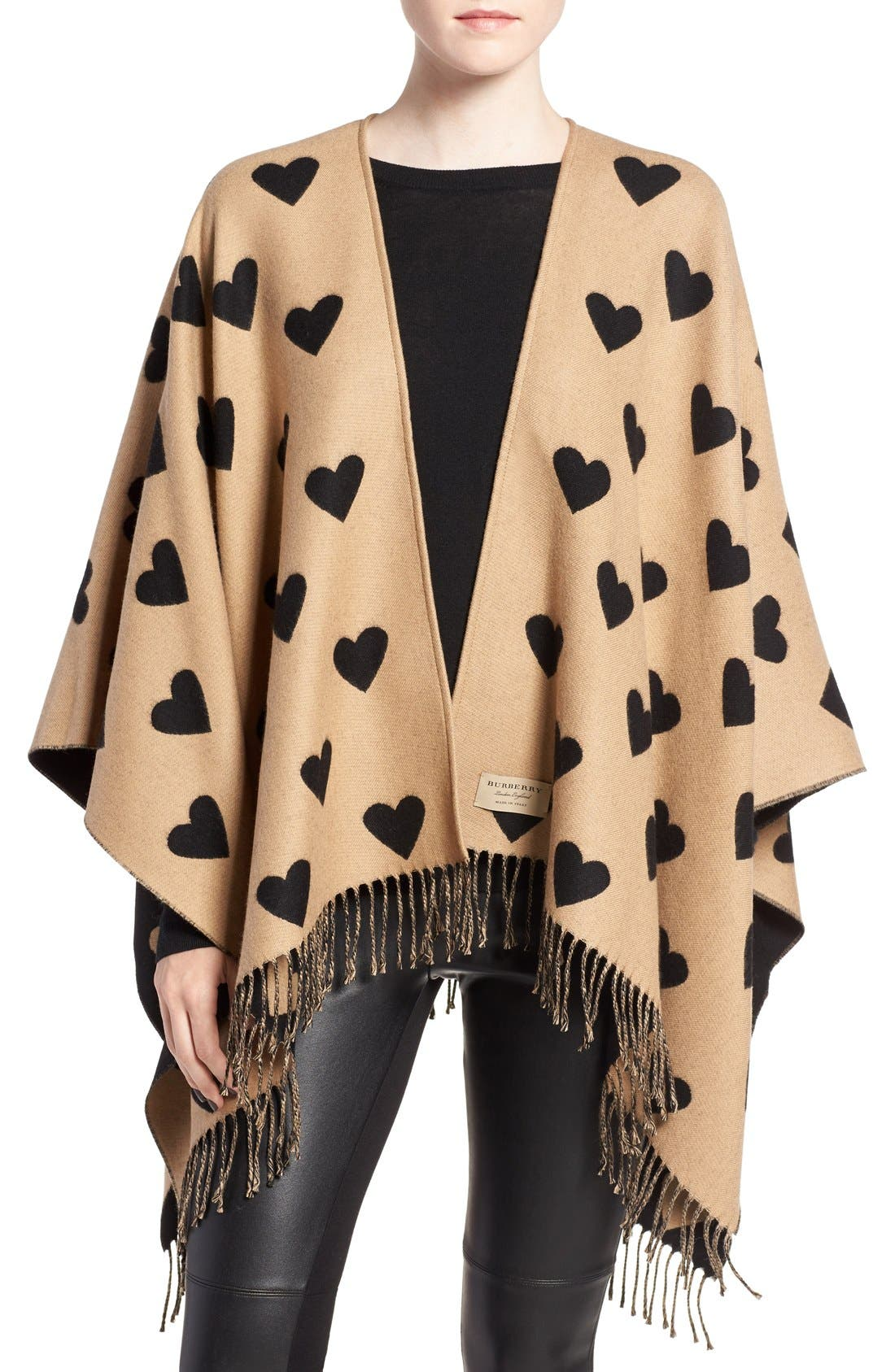 'Collette' Heart Print Wool Scarf, Main, color, 200