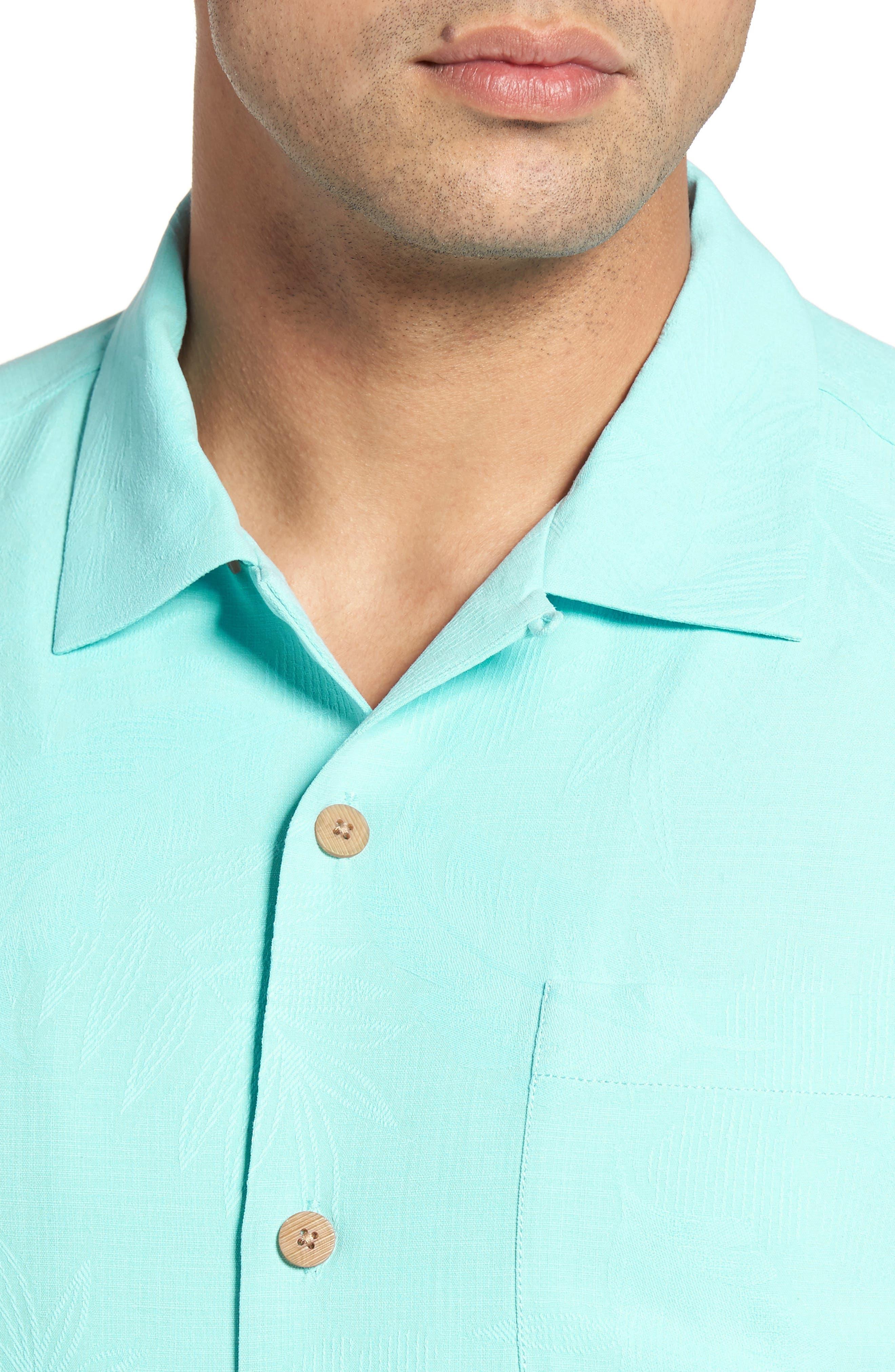 Rio Fronds Short Sleeve Silk Sport Shirt,                             Alternate thumbnail 73, color,