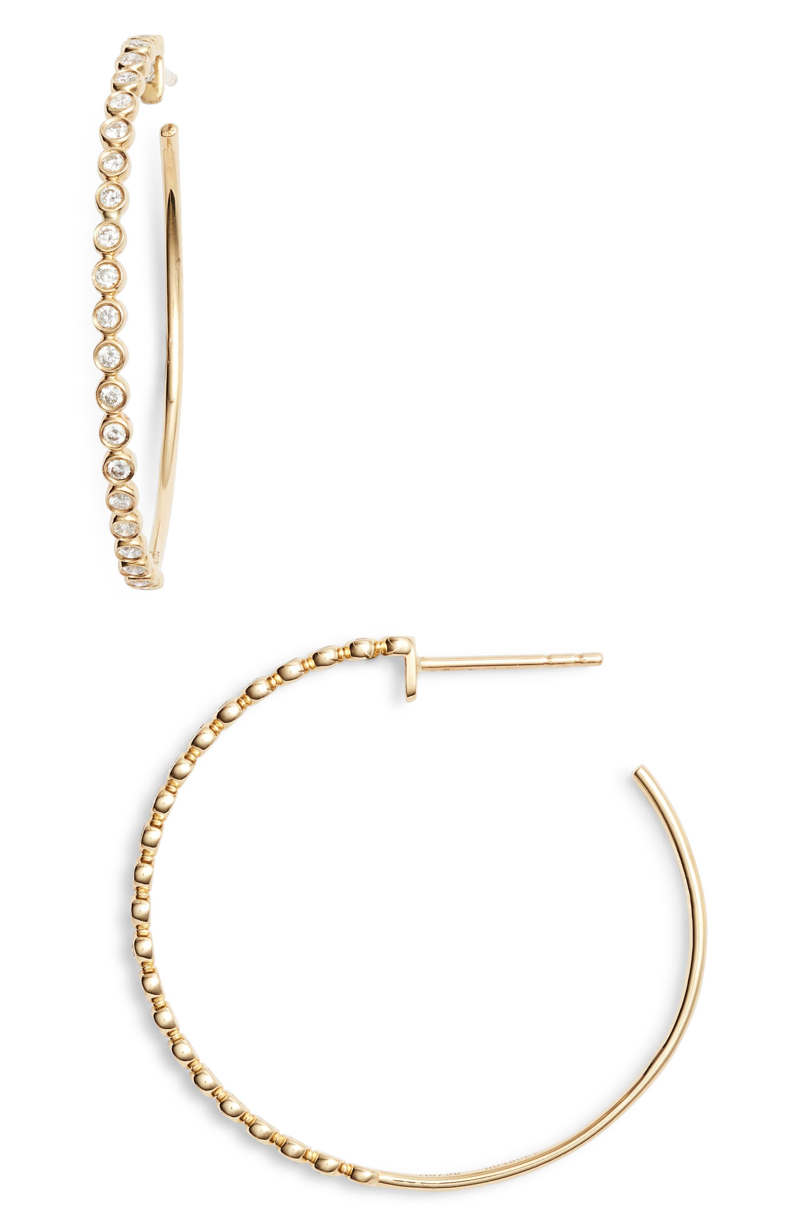 Diamond Hoop Earrings,                             Main thumbnail 1, color,                             GOLD/ DIAMOND