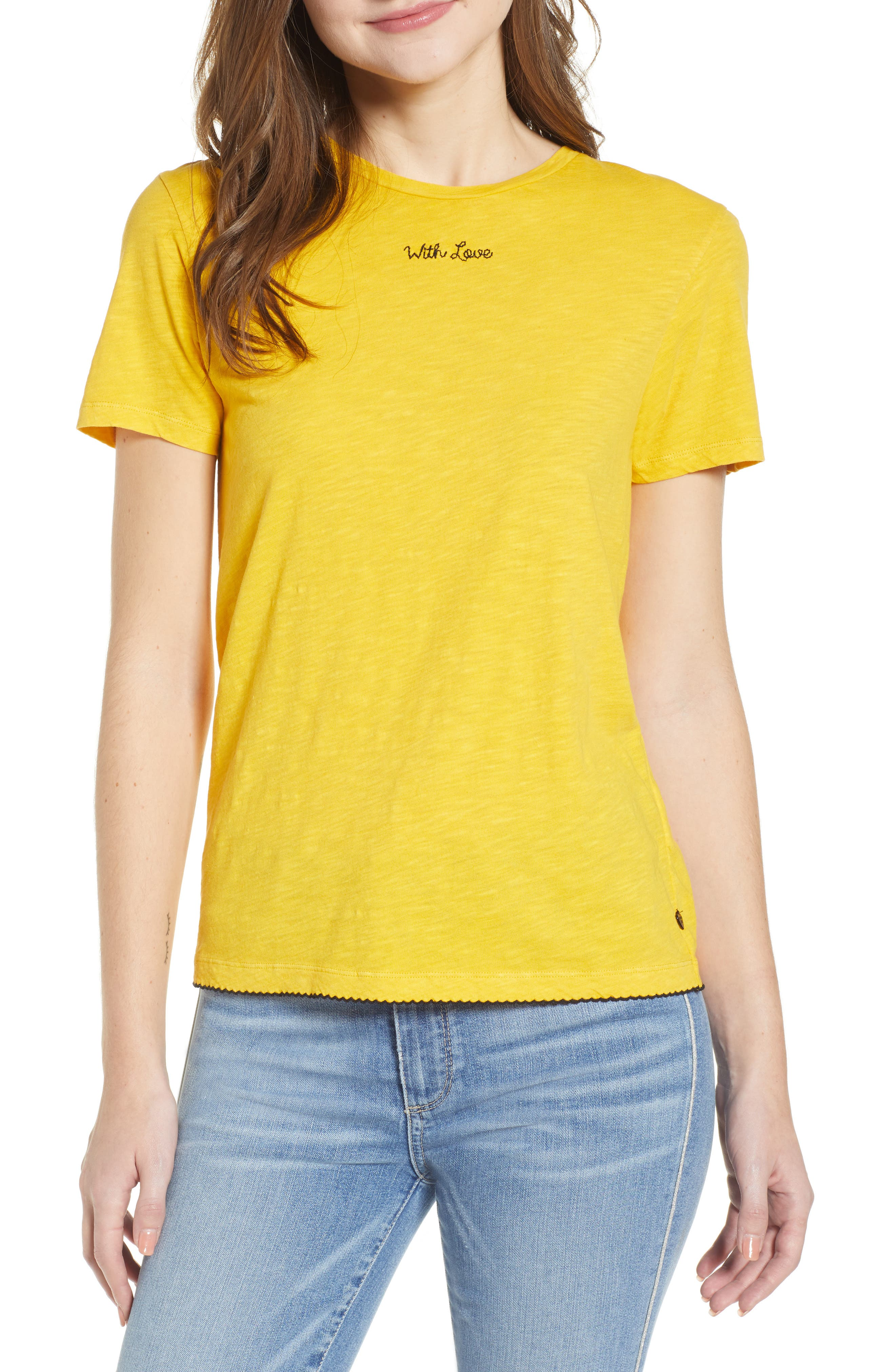SCOTCH & SODA Embroidered Tee in Marigold
