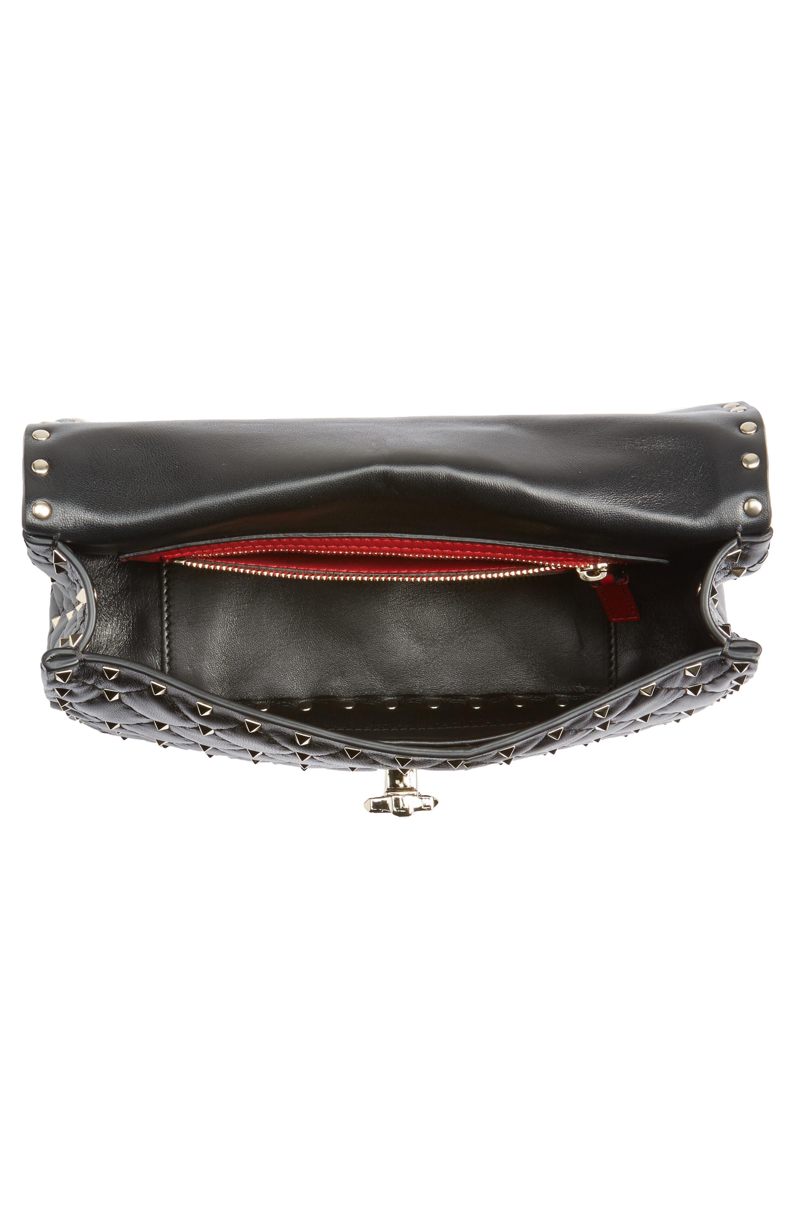 Medium Rockstud Matelassé Quilted Leather Shoulder Bag,                             Alternate thumbnail 4, color,                             BLACK