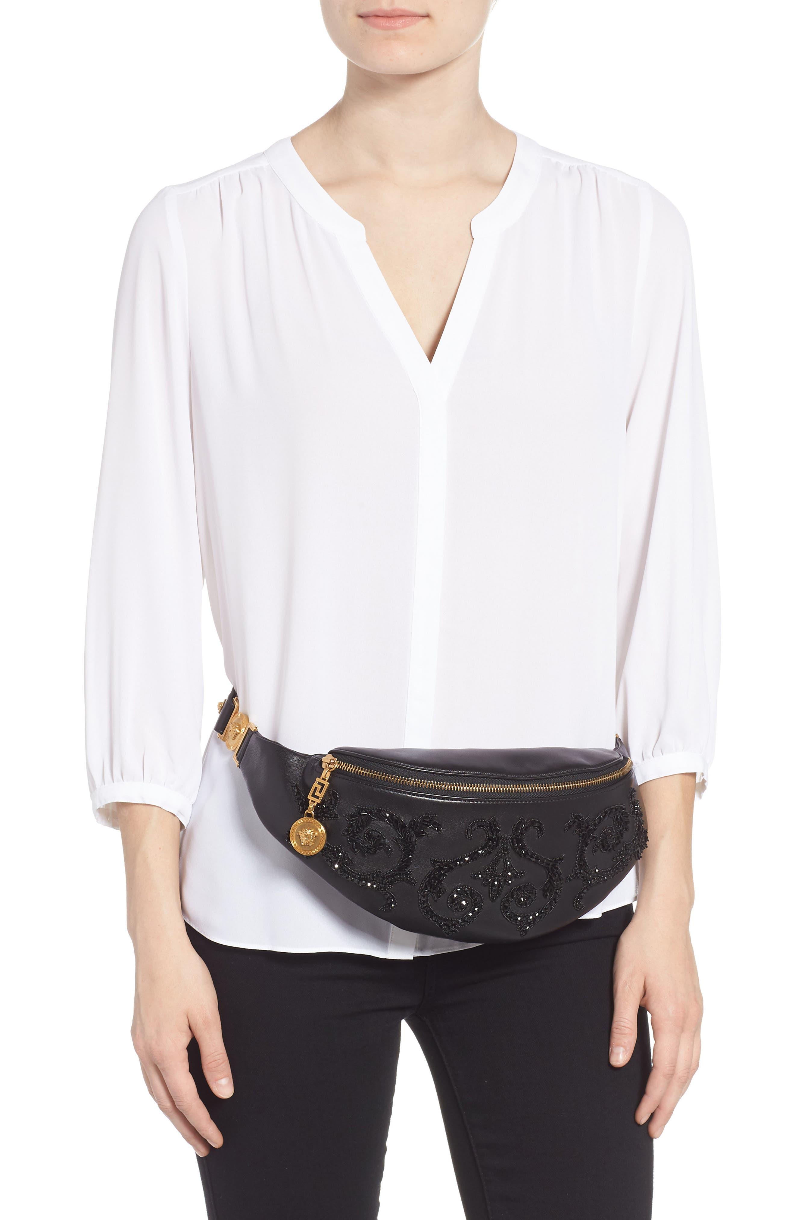 VERSACE COLLECTION,                             Versace Crystal Embellished Leather Belt Bag,                             Alternate thumbnail 2, color,                             NERO
