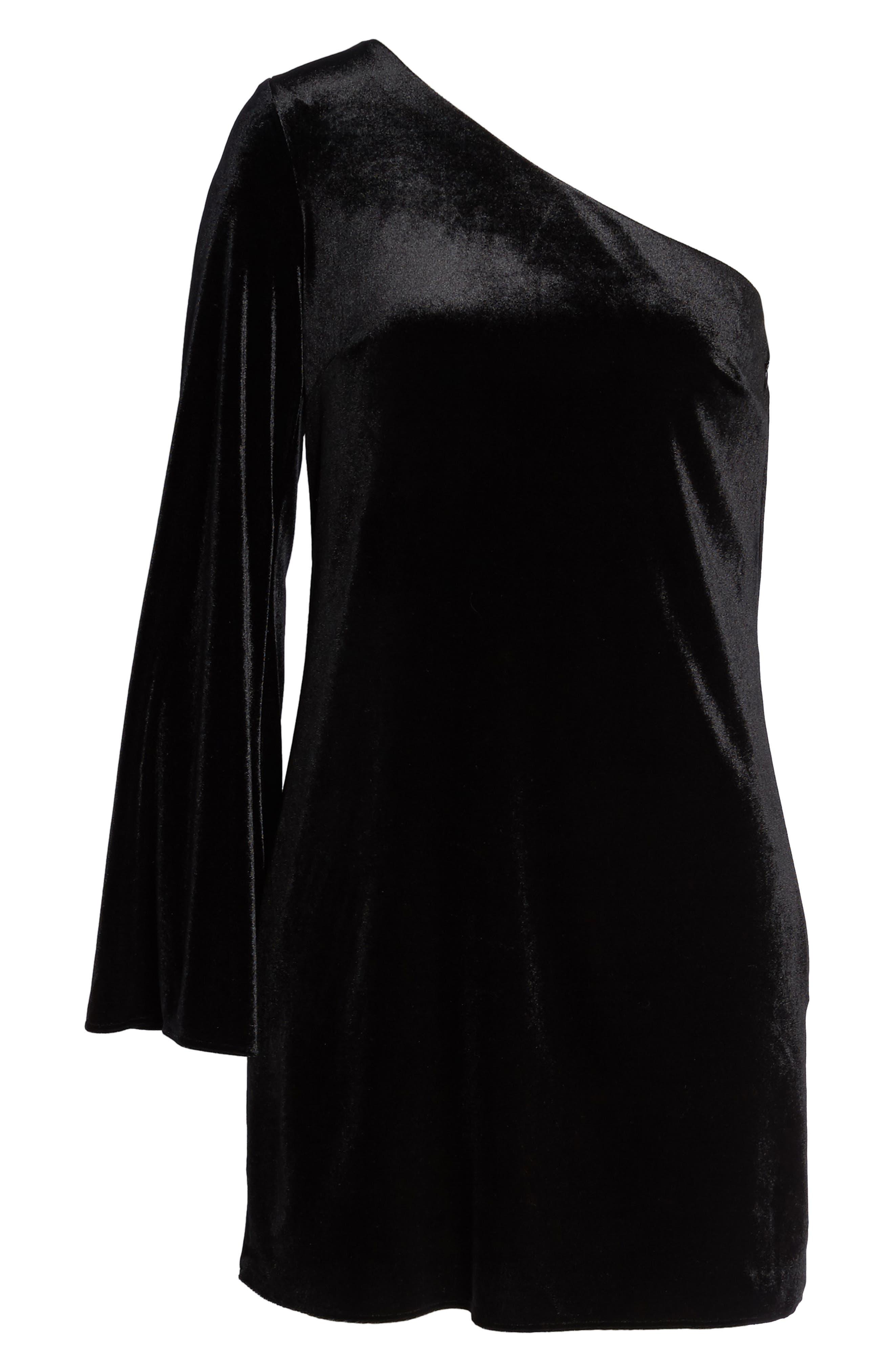 Aurore One-Shoulder Velvet Dress,                             Alternate thumbnail 6, color,                             001