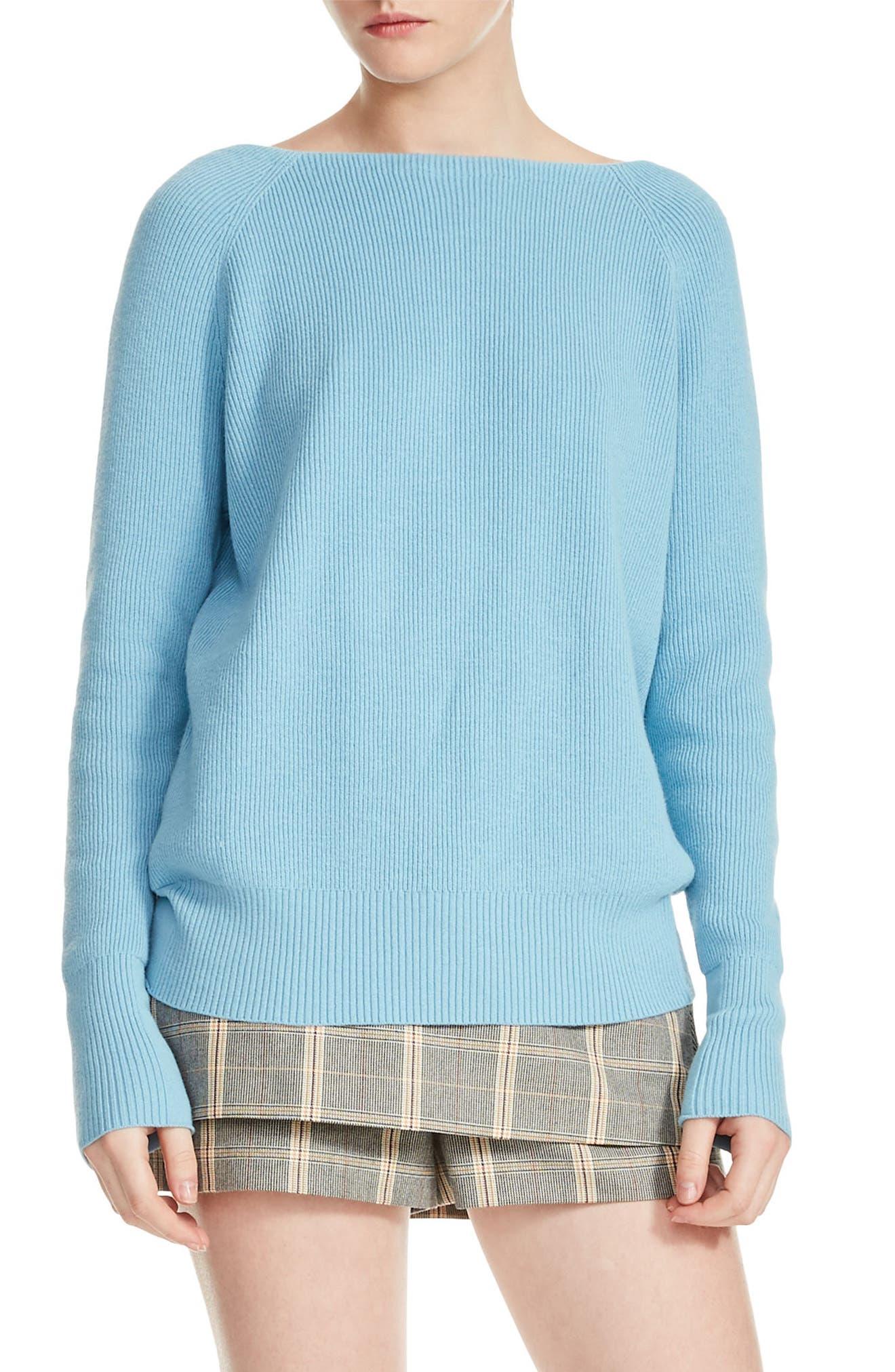Moon Crisscross Back Rib Knit Sweater,                         Main,                         color, 400