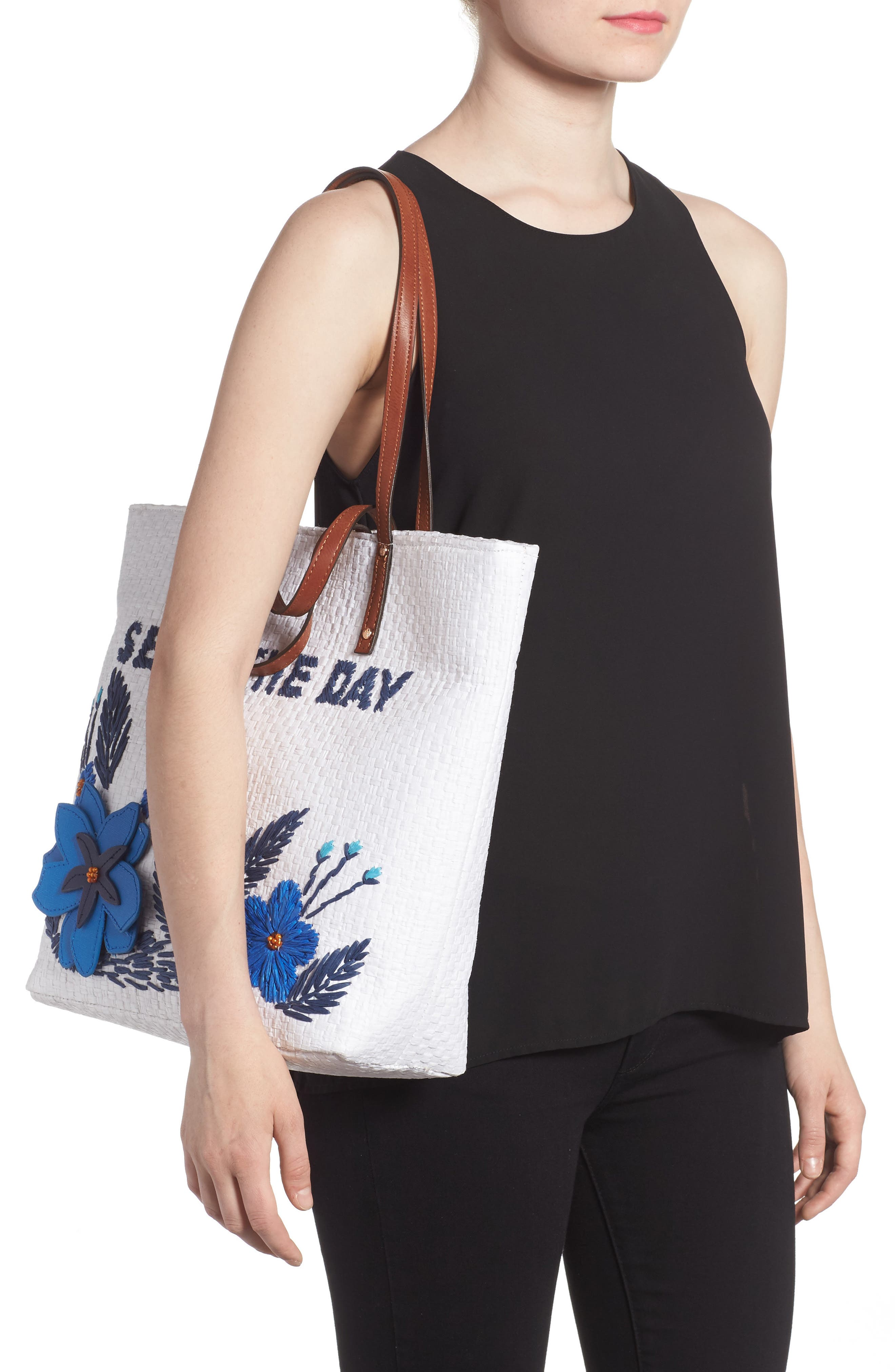 Athen - Seas the Day Embroidered Straw Tote,                             Alternate thumbnail 2, color,                             400