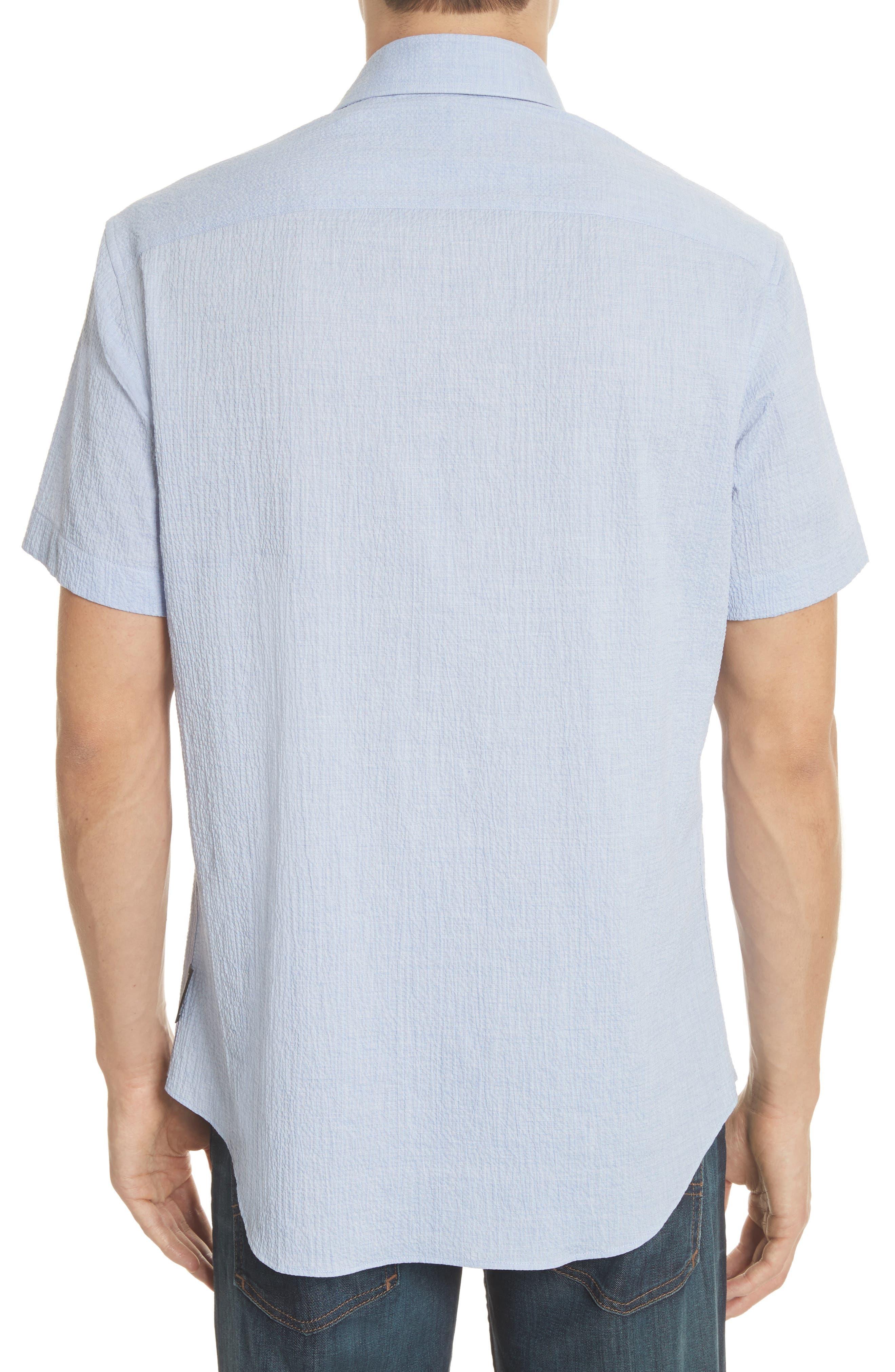 Regular Fit Seersucker Sport Shirt,                             Alternate thumbnail 2, color,