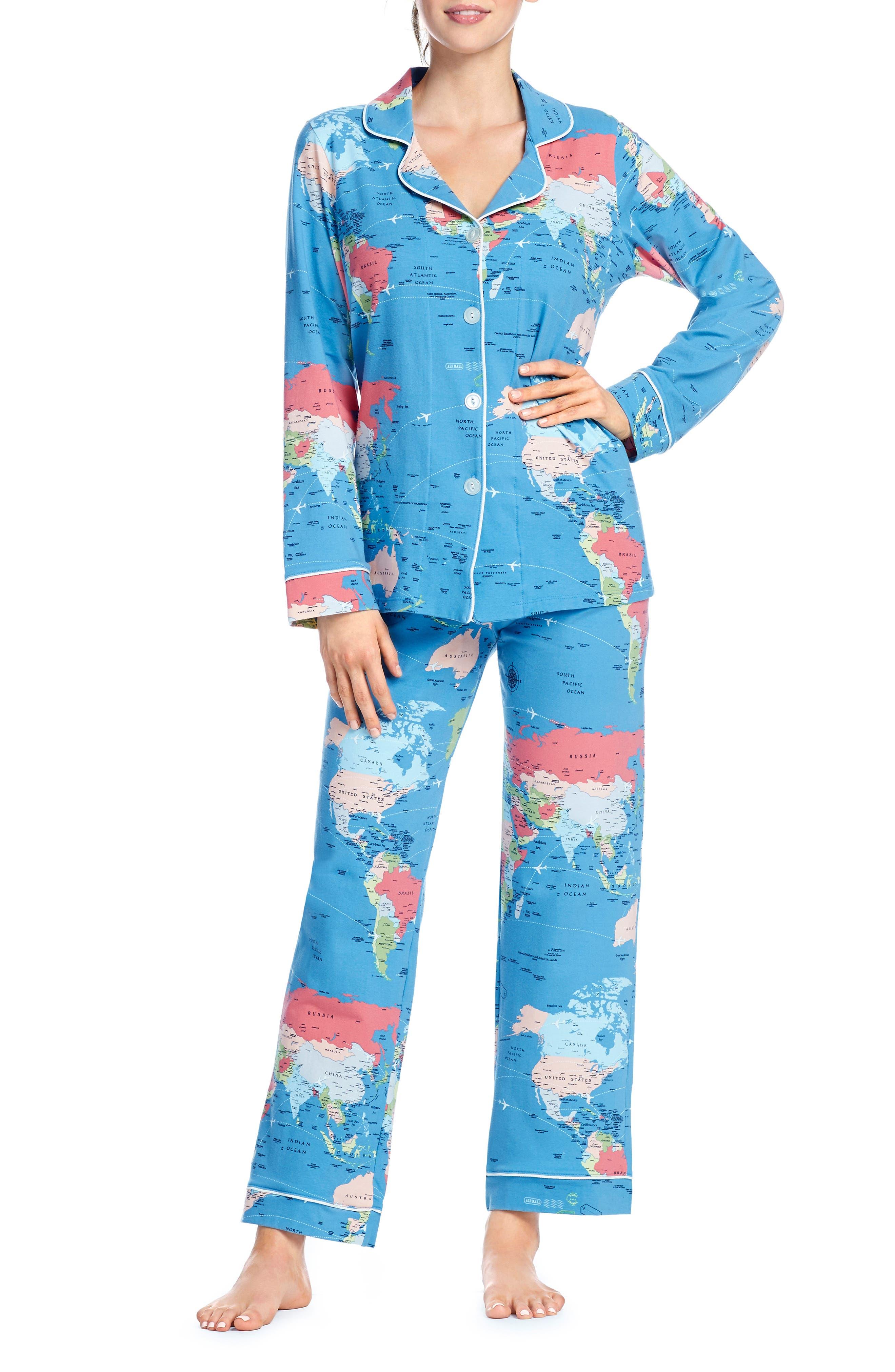 BEDHEAD Classic Print Pajamas in Dark Blue Around The World
