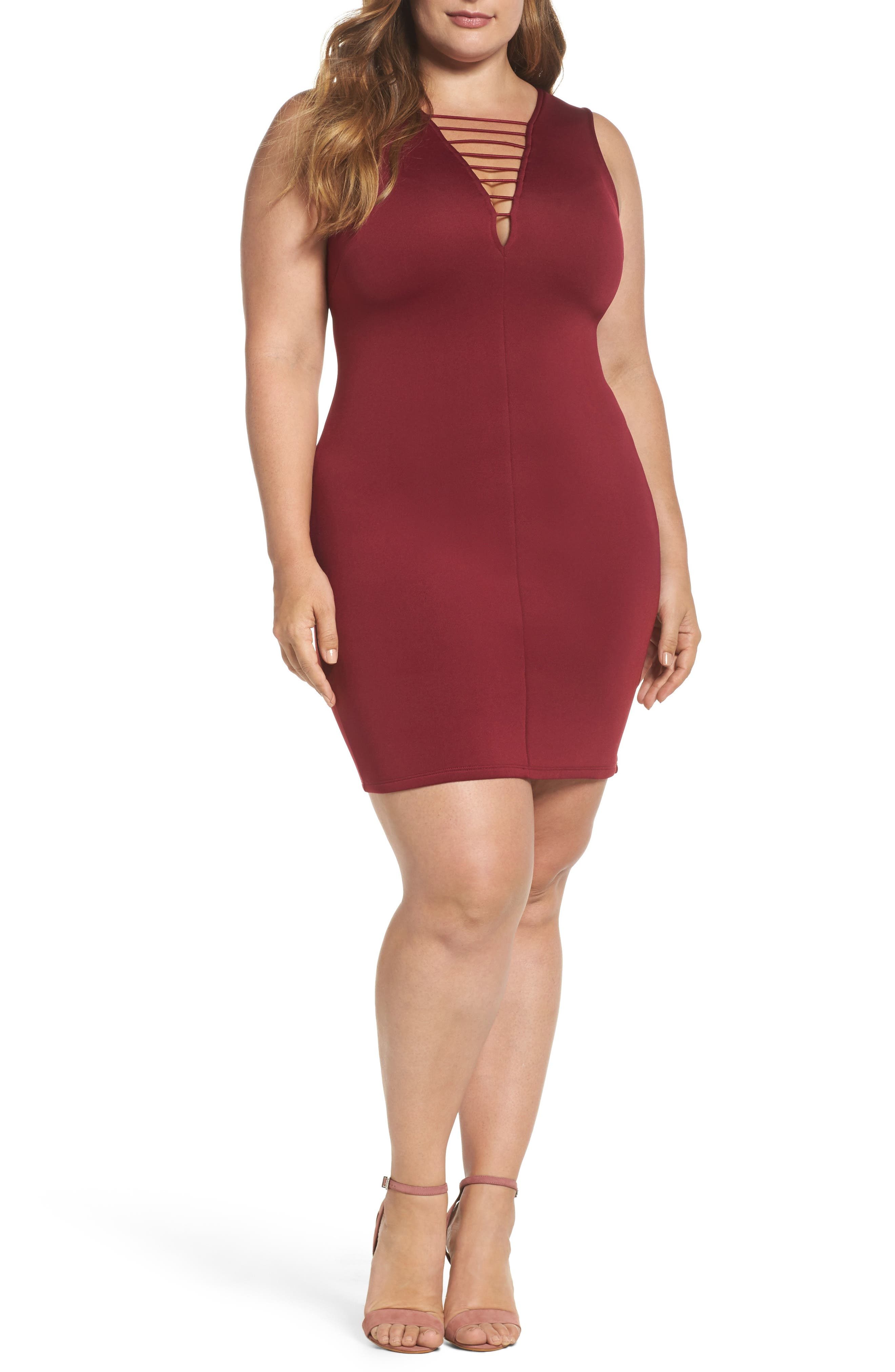 Strappy Double V Body-Con Dress,                             Main thumbnail 1, color,                             200
