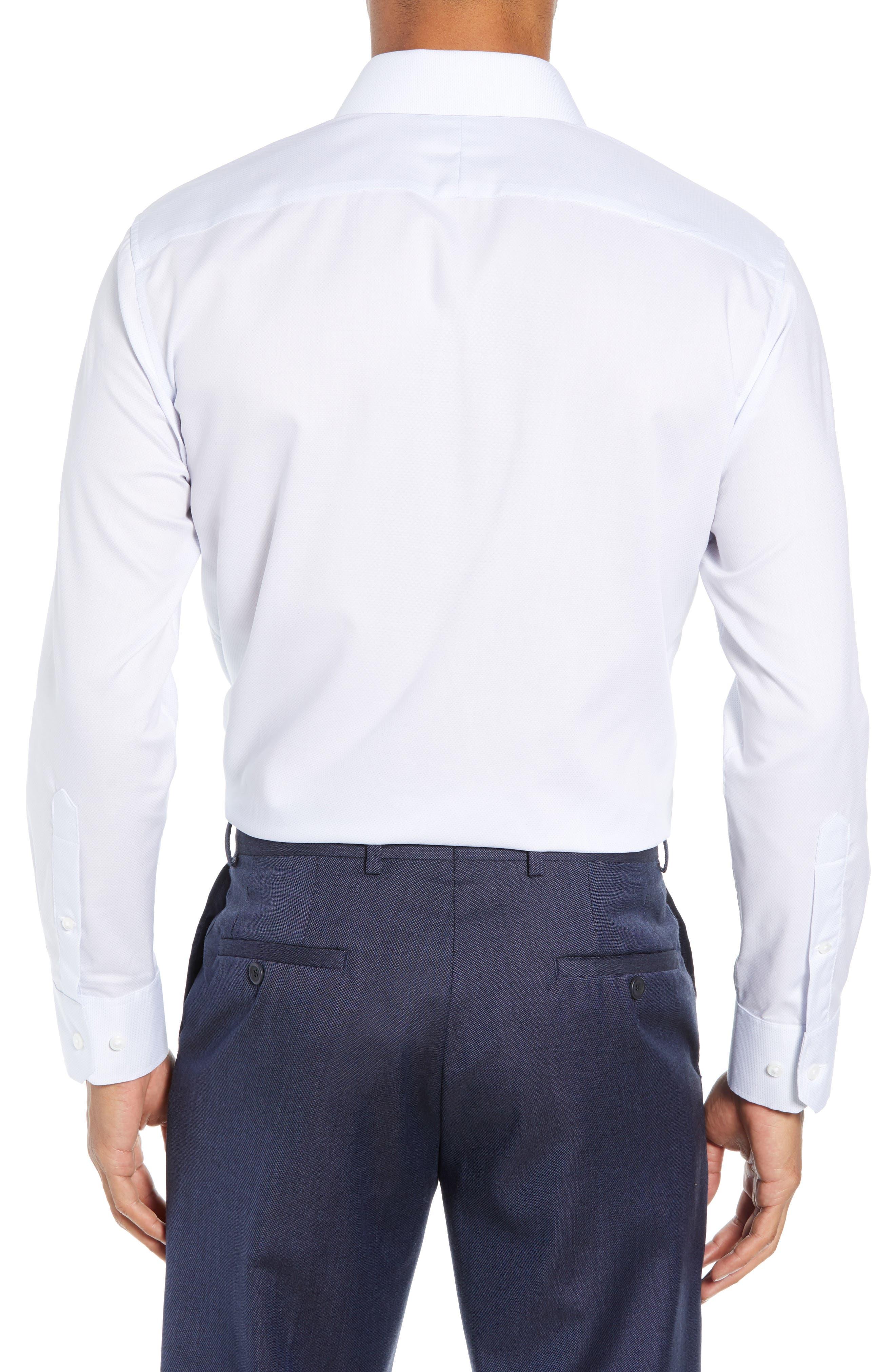 Swiss Performance Slim Fit Solid Dress Shirt,                             Alternate thumbnail 3, color,                             SOFT BLUE