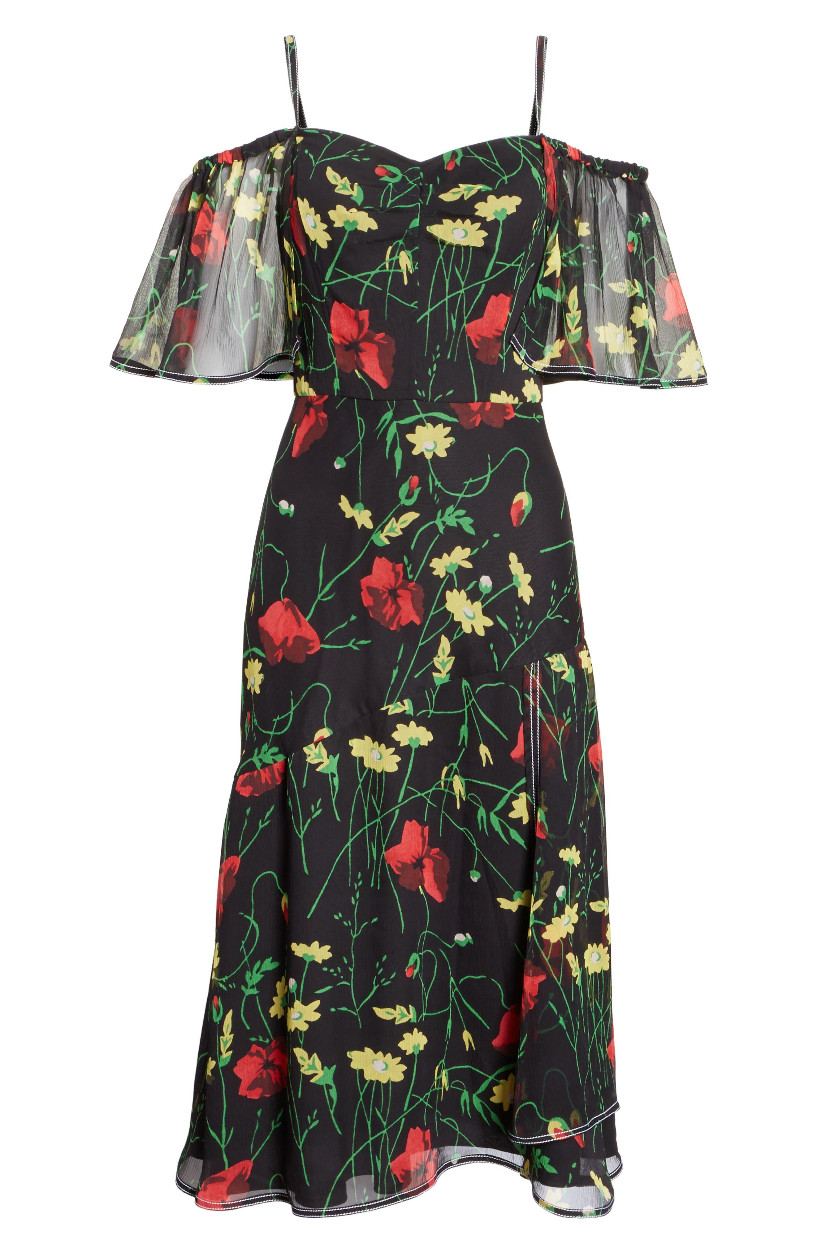 Print Chiffon Off the Shoulder Dress,                             Alternate thumbnail 6, color,                             001