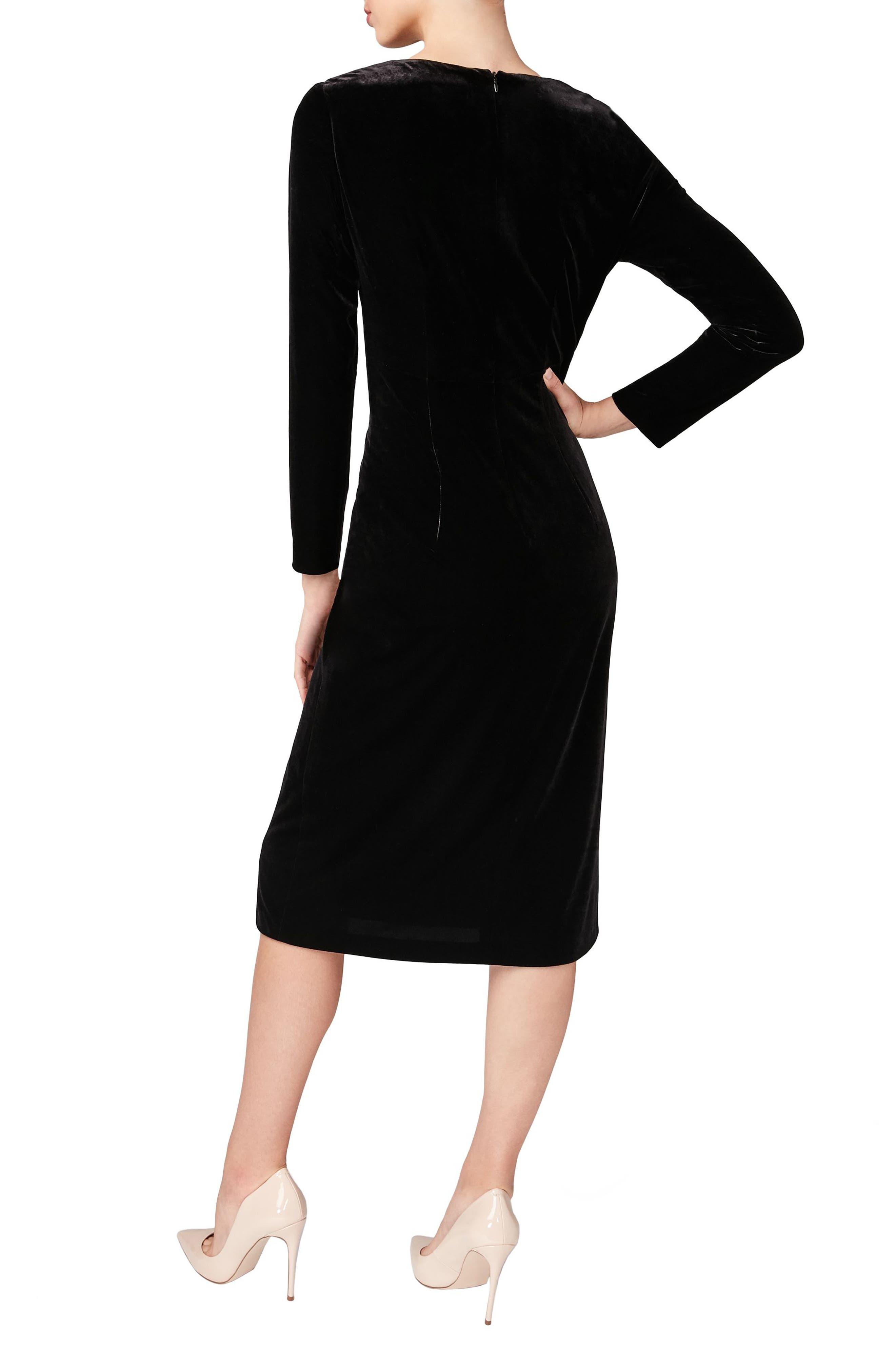 Velvet Sheath Dress,                             Alternate thumbnail 2, color,                             001