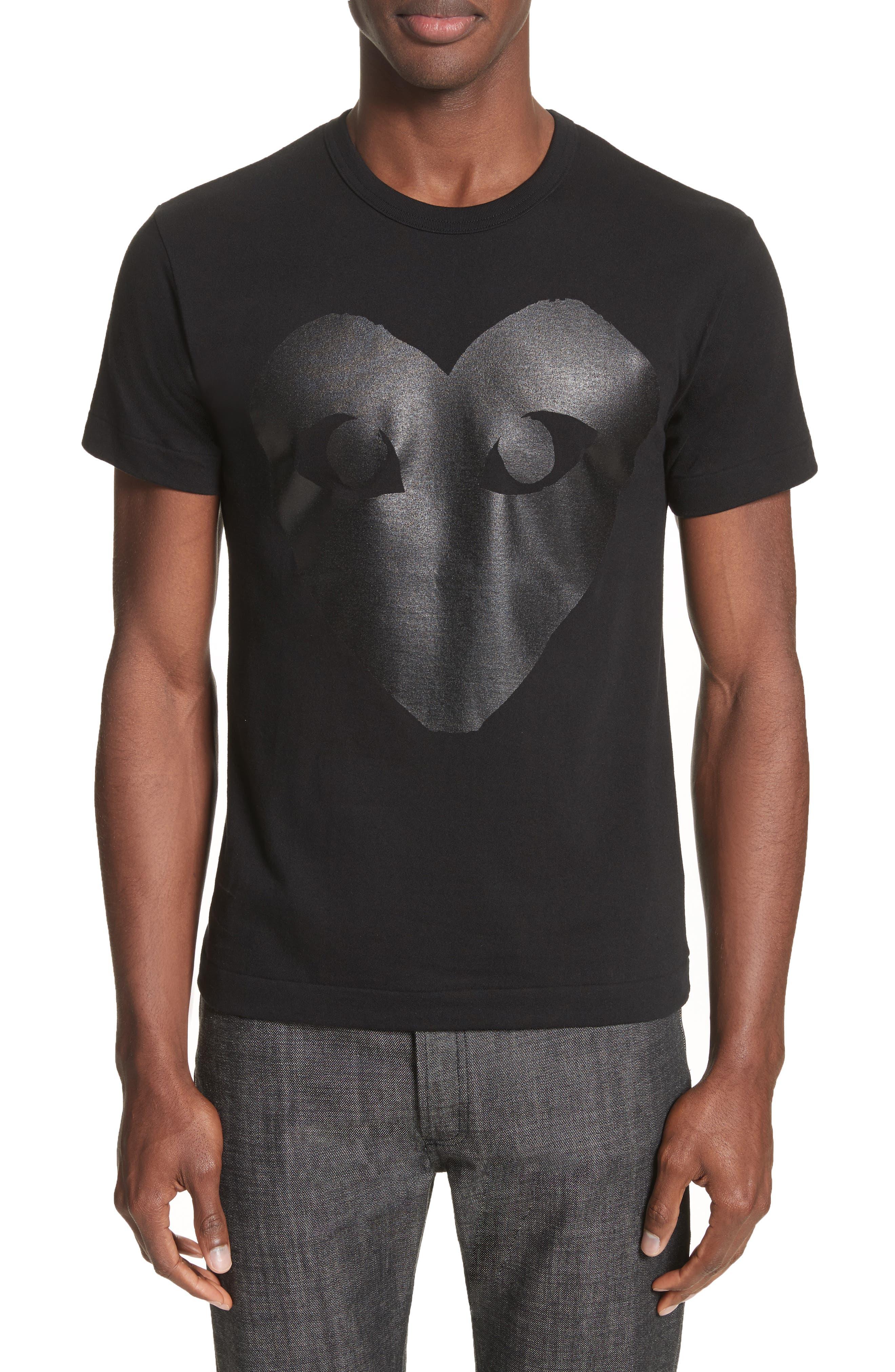 COMME DES GARÇONS PLAY,                             Graphic T-Shirt,                             Main thumbnail 1, color,                             BLACK