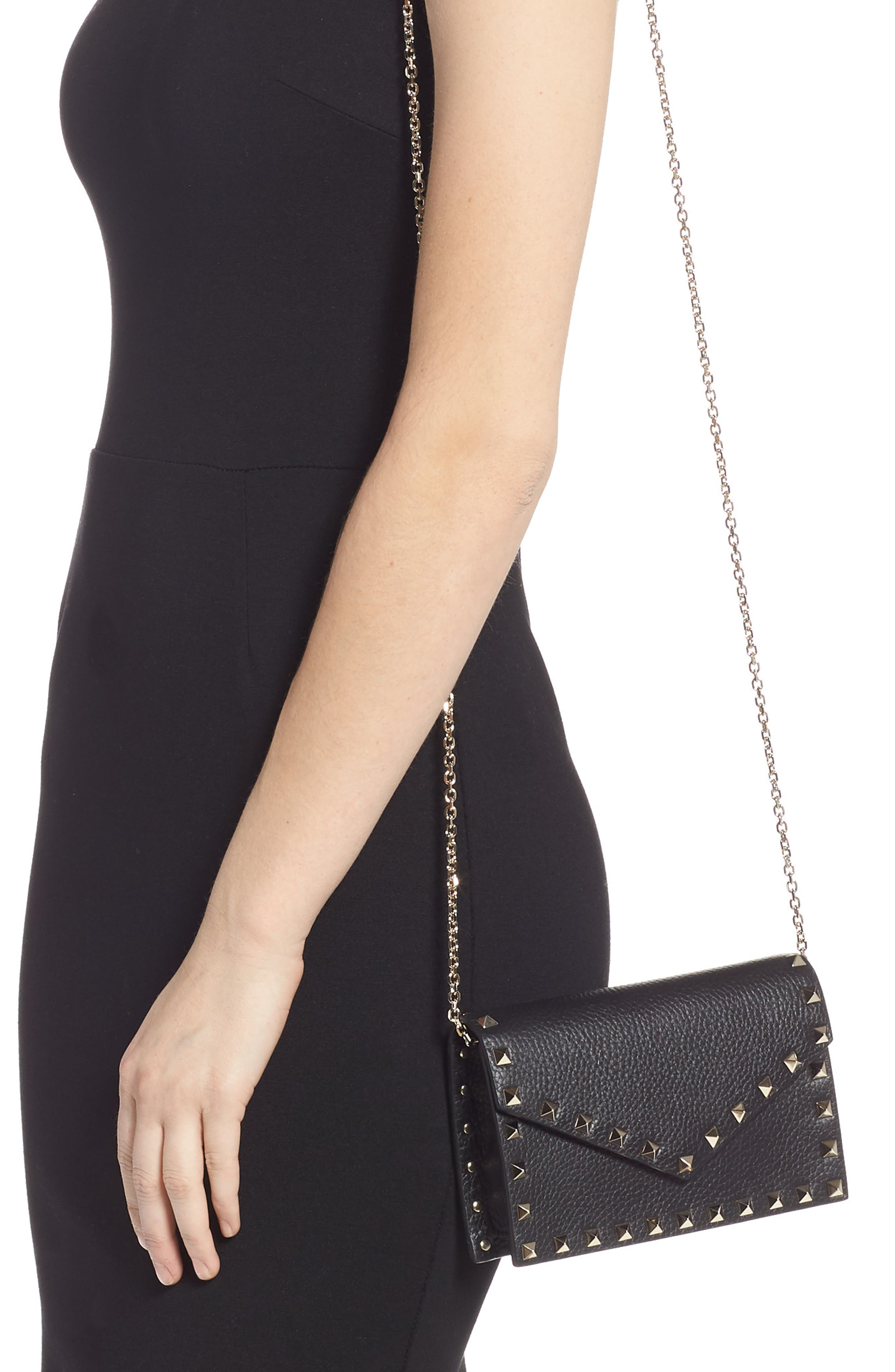 VALENTINO GARAVANI,                             Rockstud Calfskin Leather Envelope Pouch,                             Alternate thumbnail 2, color,                             NERO