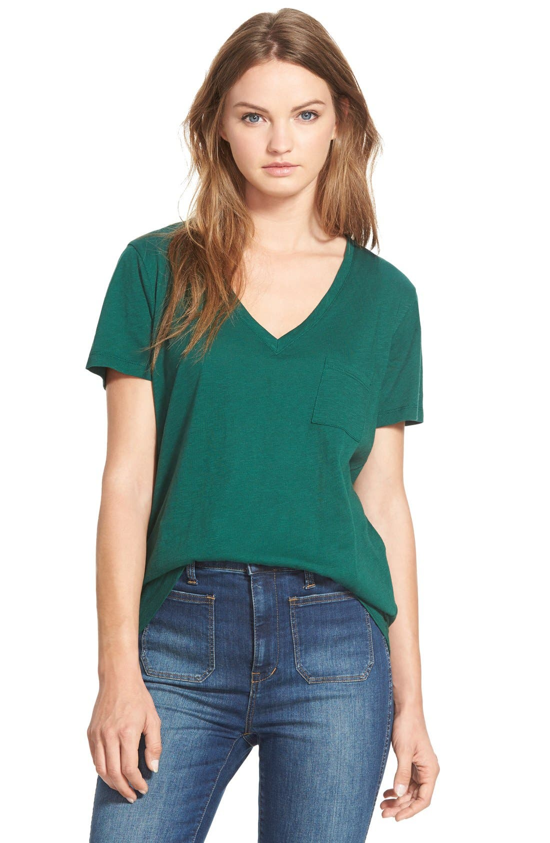 Whisper Cotton V-Neck Pocket Tee,                             Main thumbnail 16, color,