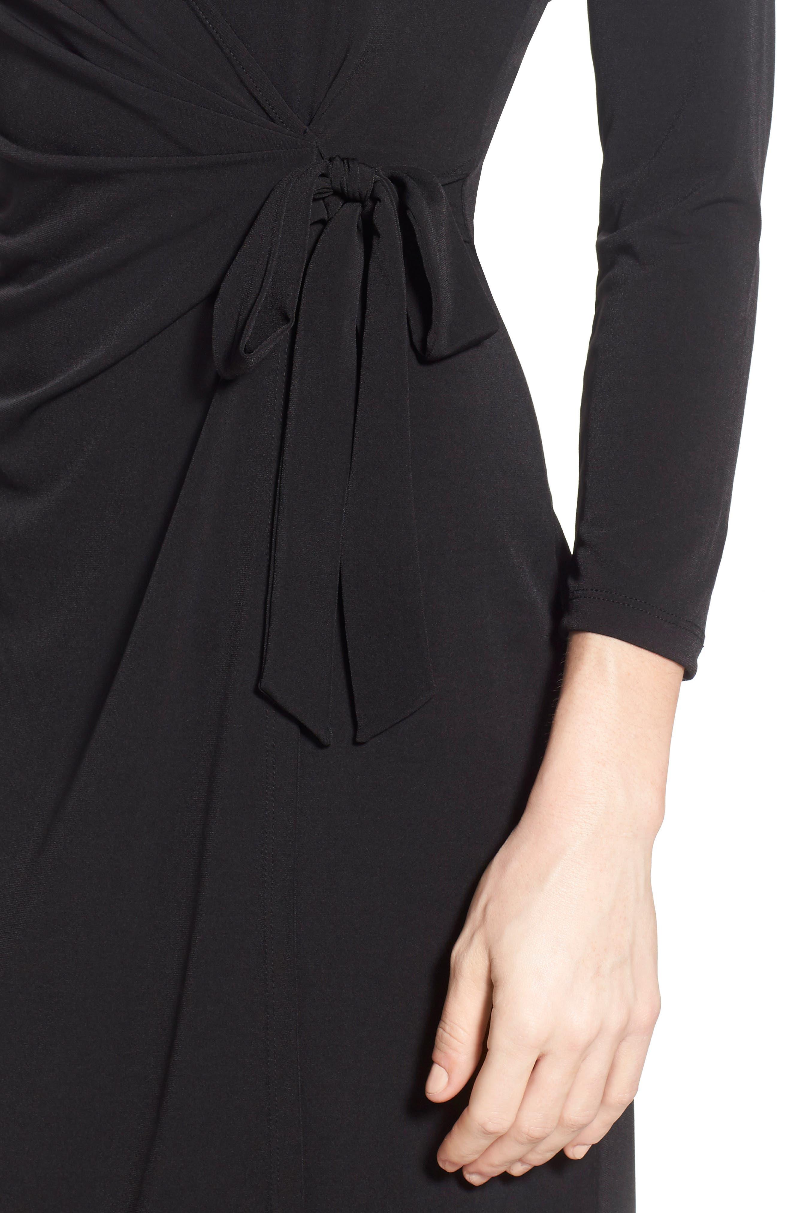 Faux Wrap Jersey Dress,                             Alternate thumbnail 3, color,                             BLACK