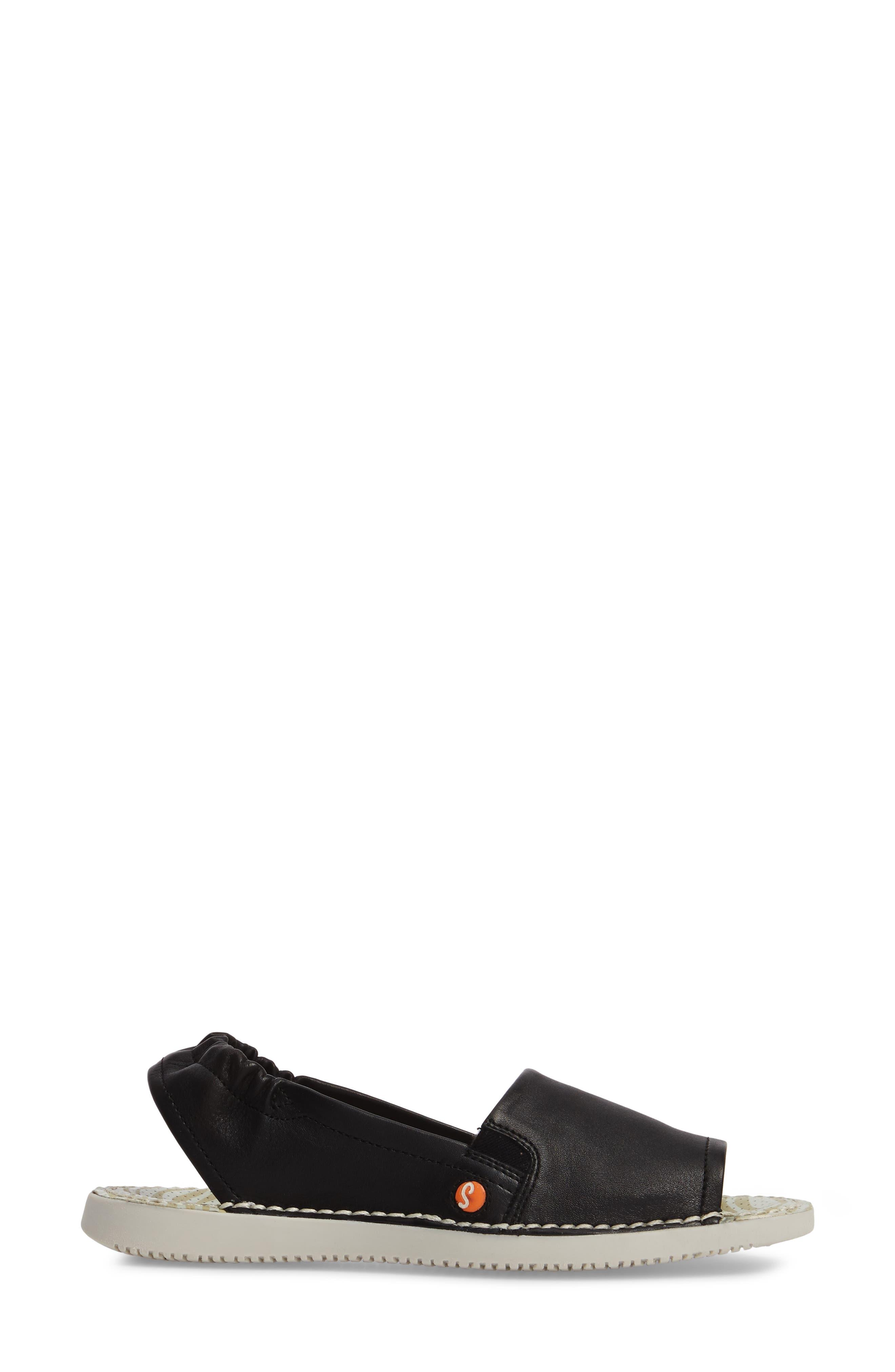 Tee Flat Sandal,                             Alternate thumbnail 3, color,                             BLACK LEATHER