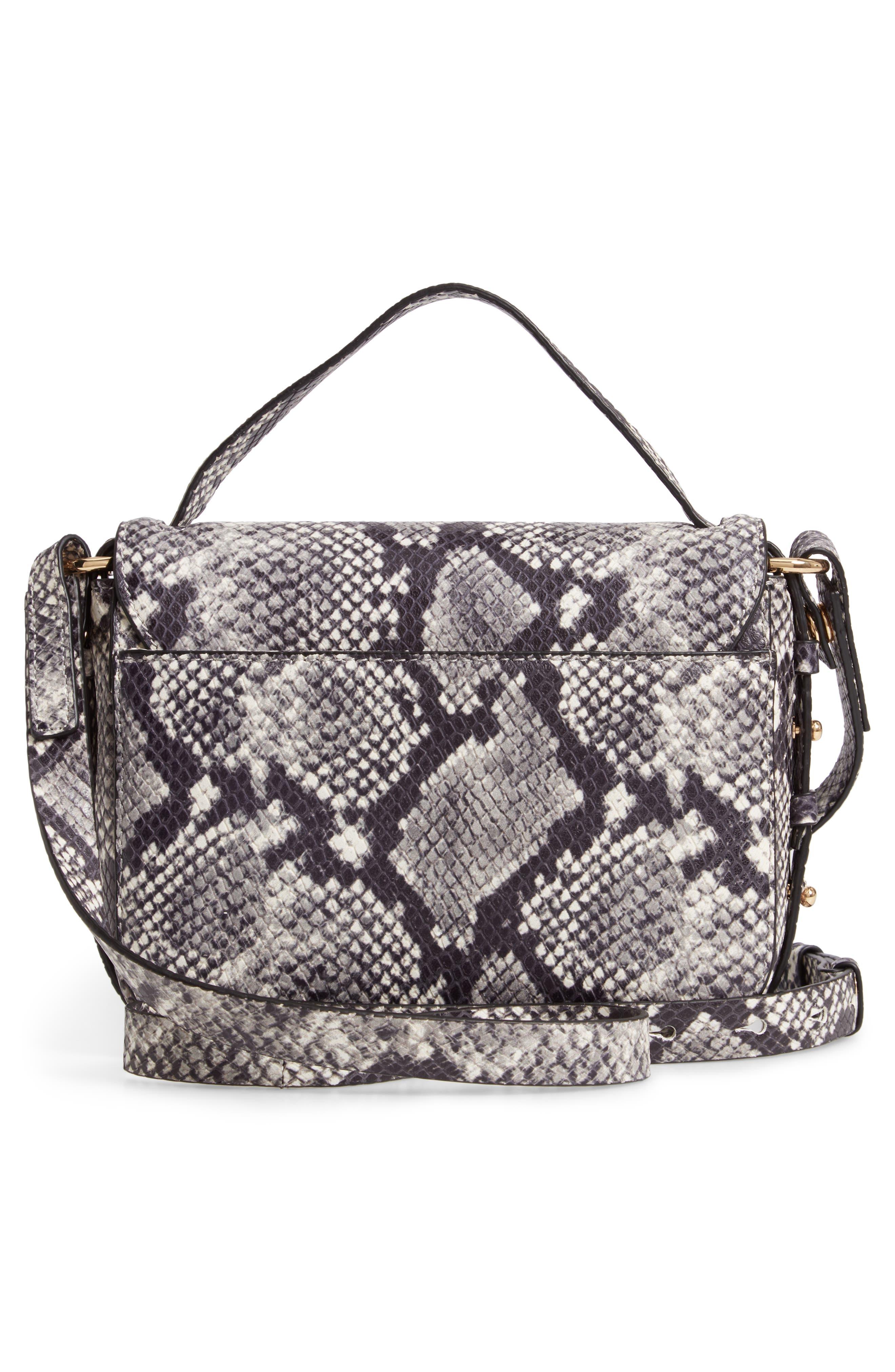 J.CREW,                             Harper Snake Embossed Leather Crossbody Bag,                             Alternate thumbnail 3, color,                             020