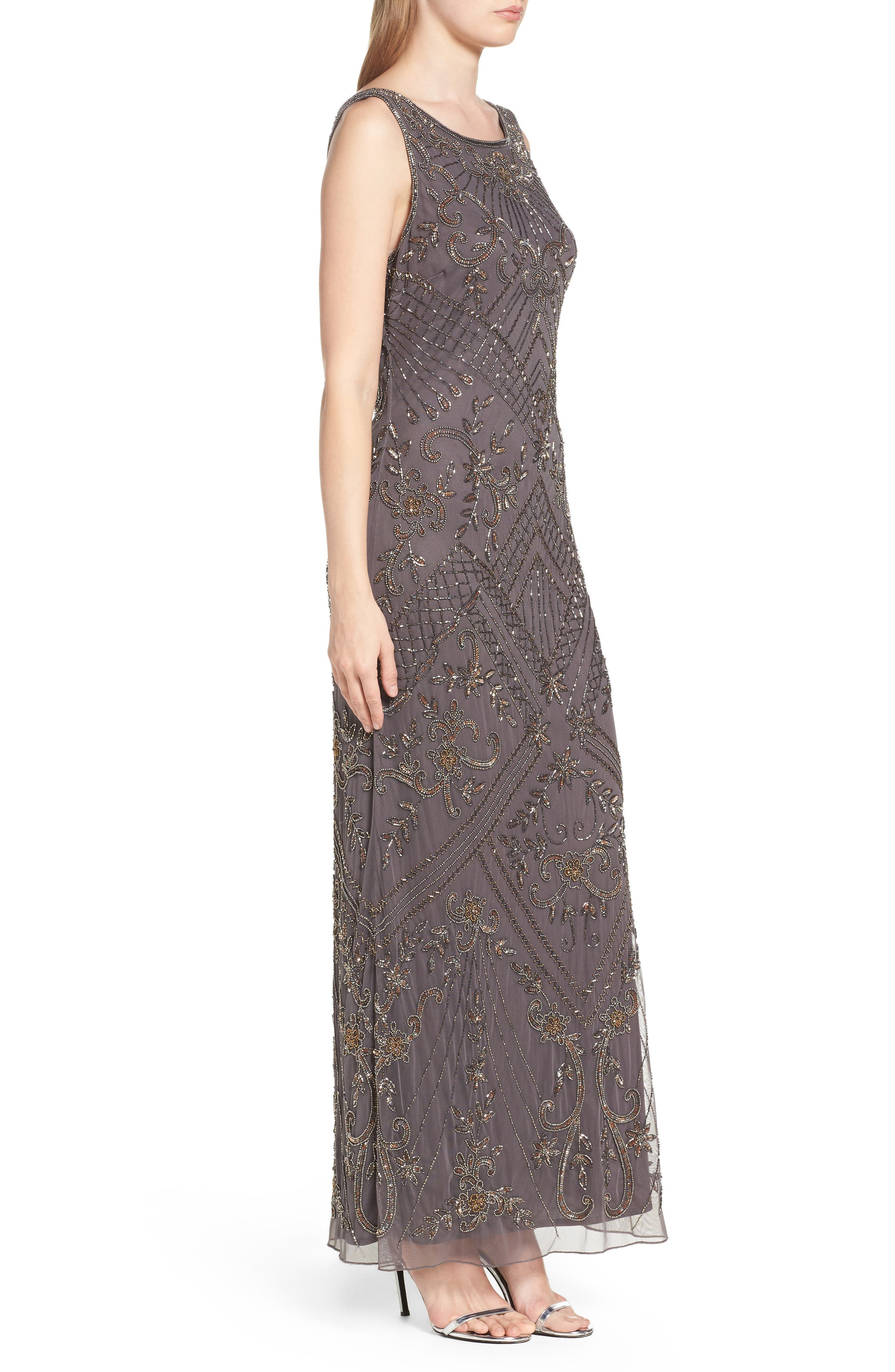 Embroidered Mesh Gown,                             Alternate thumbnail 6, color,