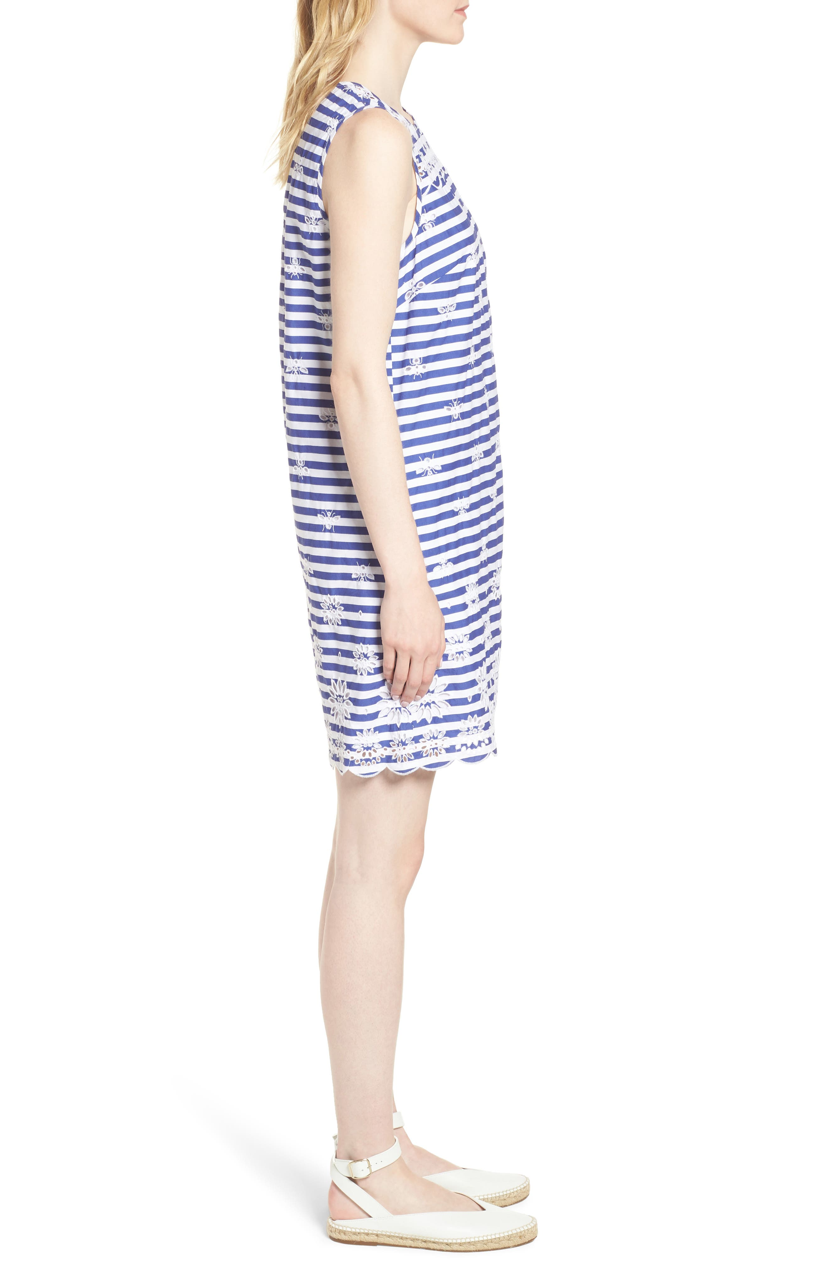 Dante Embroidered Stripe Dress,                             Alternate thumbnail 3, color,                             400