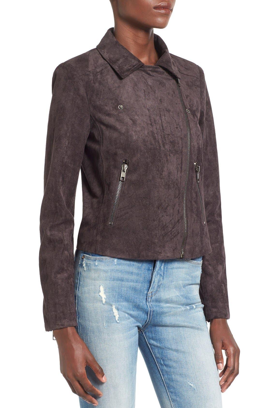 ASTR Faux Suede Moto Jacket,                             Alternate thumbnail 4, color,                             020