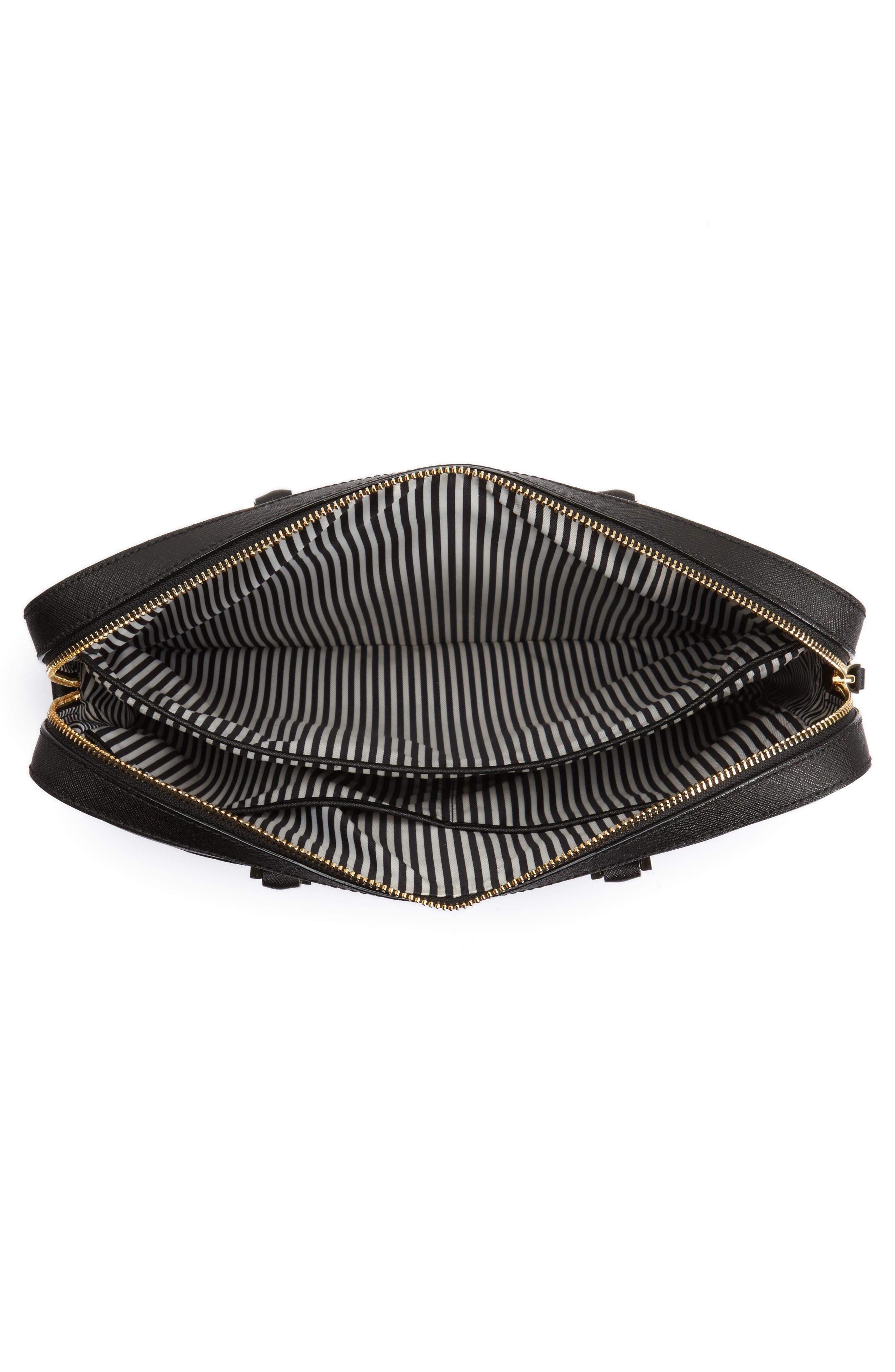 saffiano leather laptop bag,                             Alternate thumbnail 4, color,                             BLACK