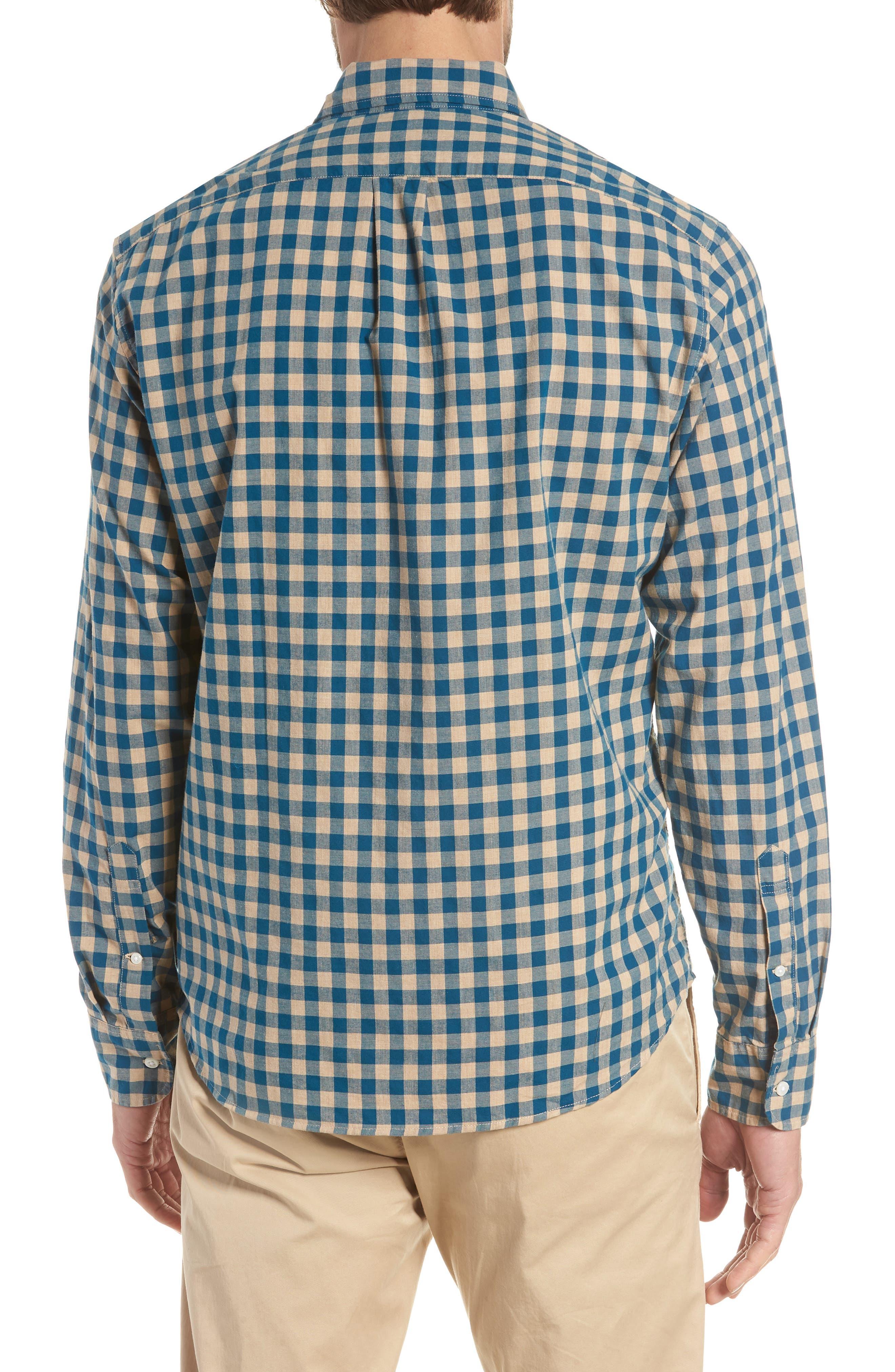 Slim Fit Stretch Secret Wash Heather Gingham Poplin Shirt,                             Alternate thumbnail 6, color,