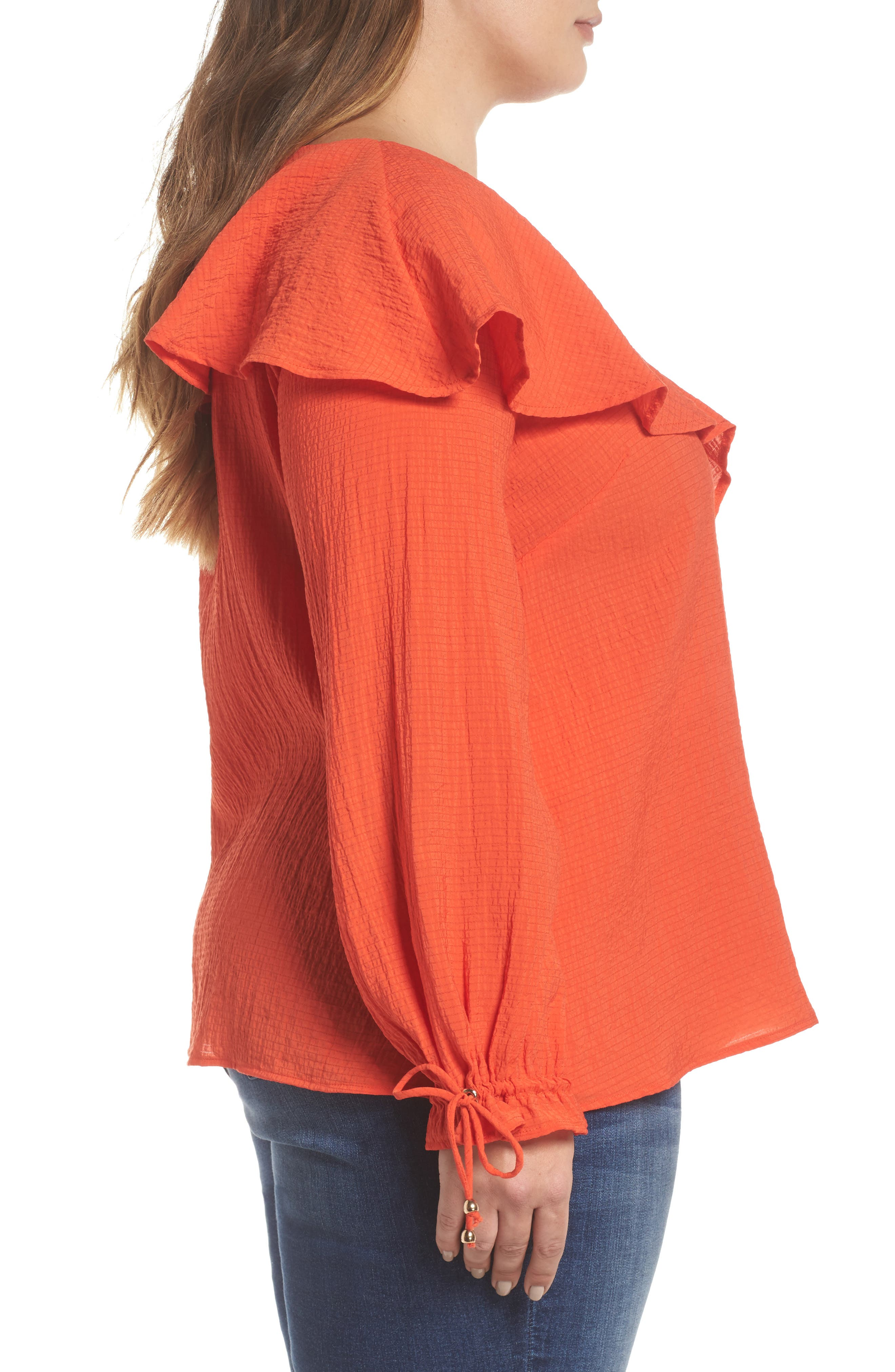 The Rose Ruffle Blouse,                             Alternate thumbnail 3, color,                             RED