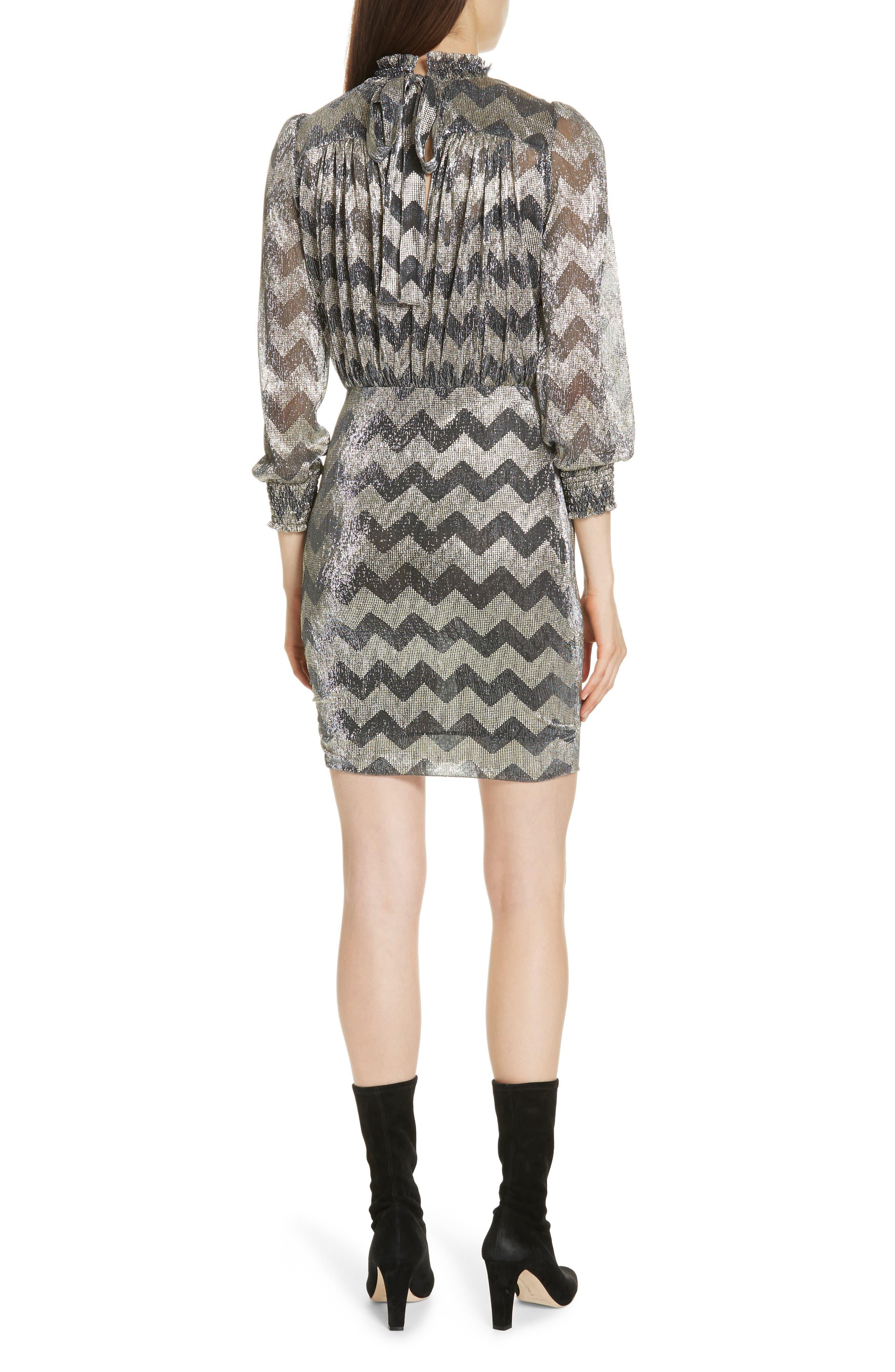 Goldy Zigzag Metallic Stripe Dress,                             Alternate thumbnail 2, color,                             ANTHRACITE