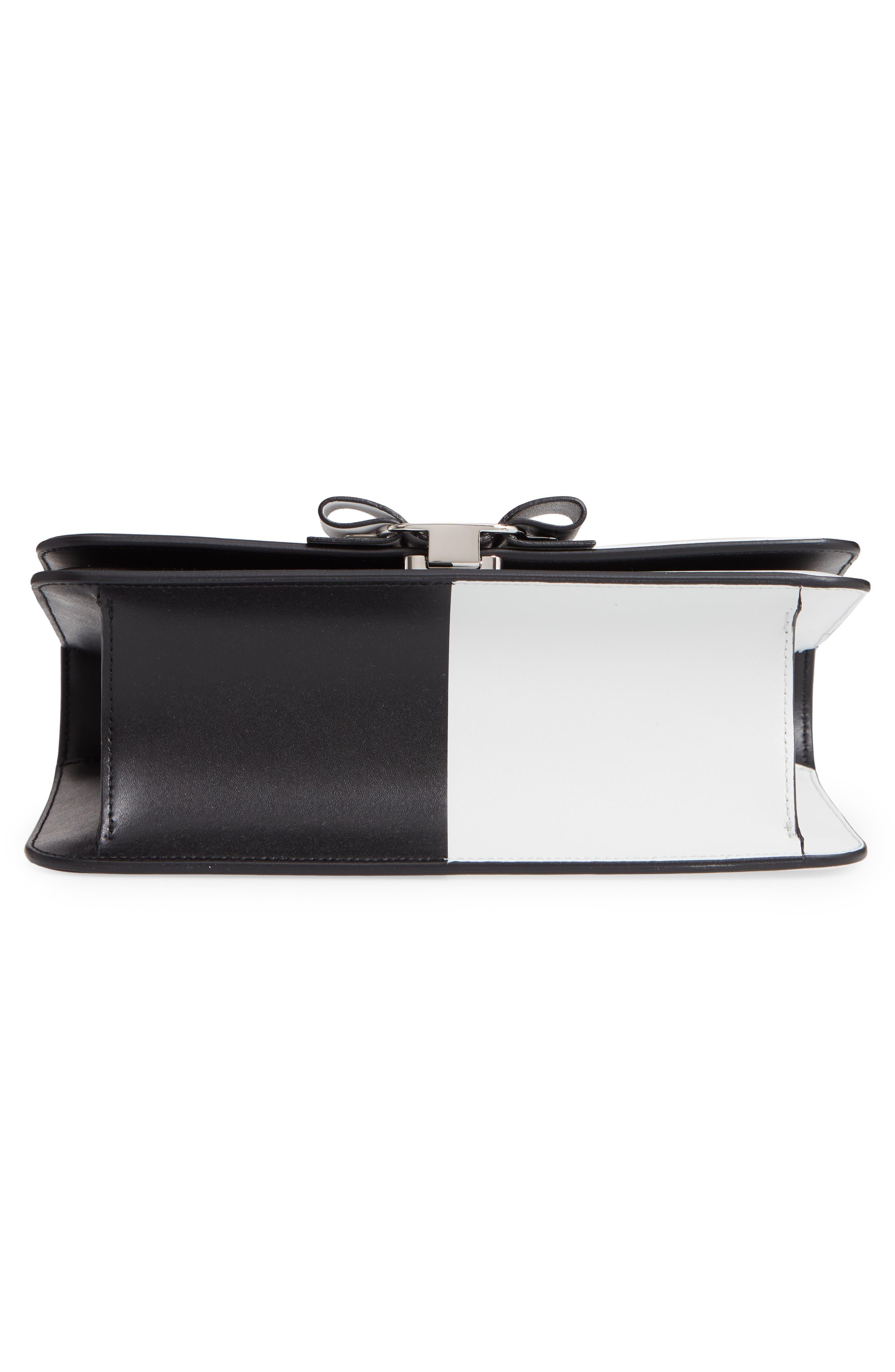 Vara Colorblock Leather Shoulder Bag,                             Alternate thumbnail 6, color,                             BLACK/ WHITE